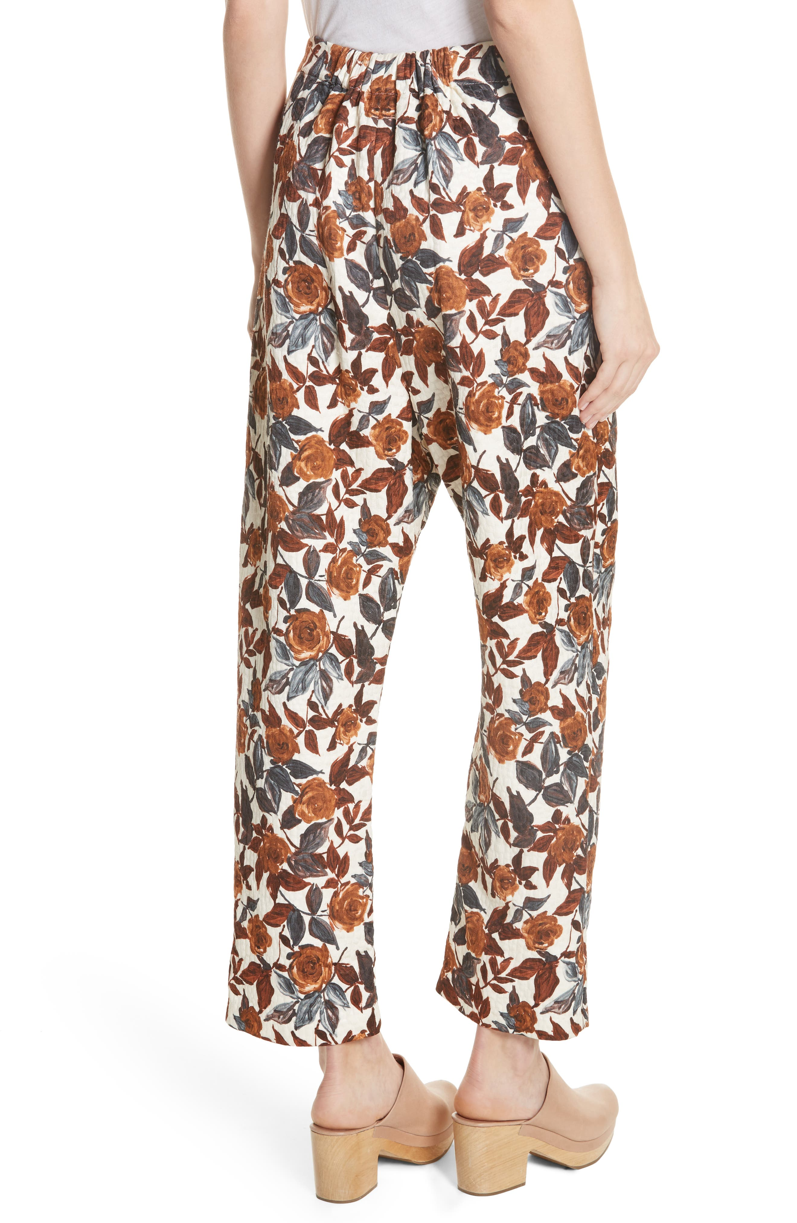 Barrie Floral Print Pants,                             Alternate thumbnail 2, color,                             BROWN