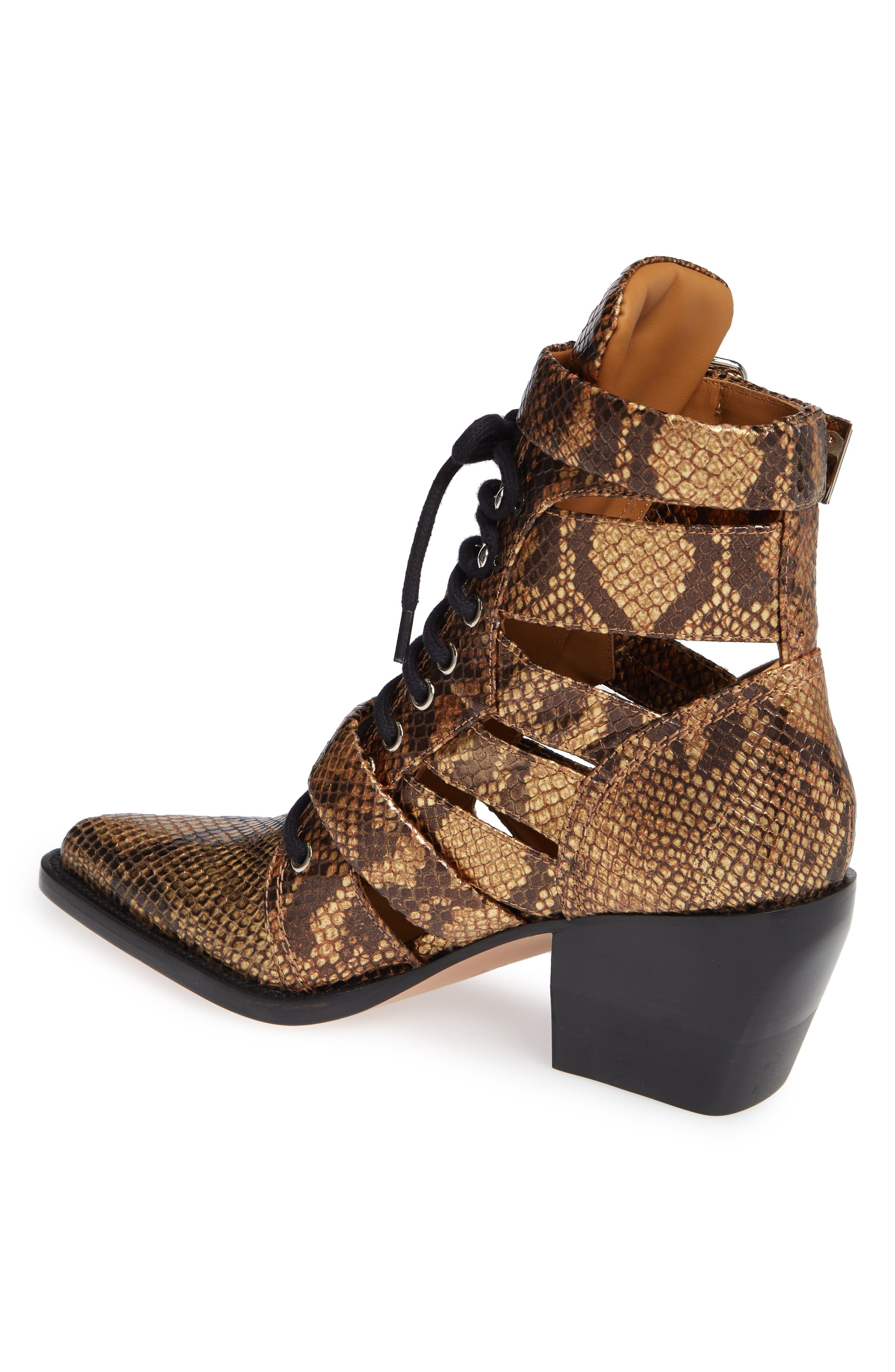 CHLOÉ,                             Rylee Pointy Toe Cage Boot,                             Alternate thumbnail 2, color,                             HARVEST GOLD LEATHER