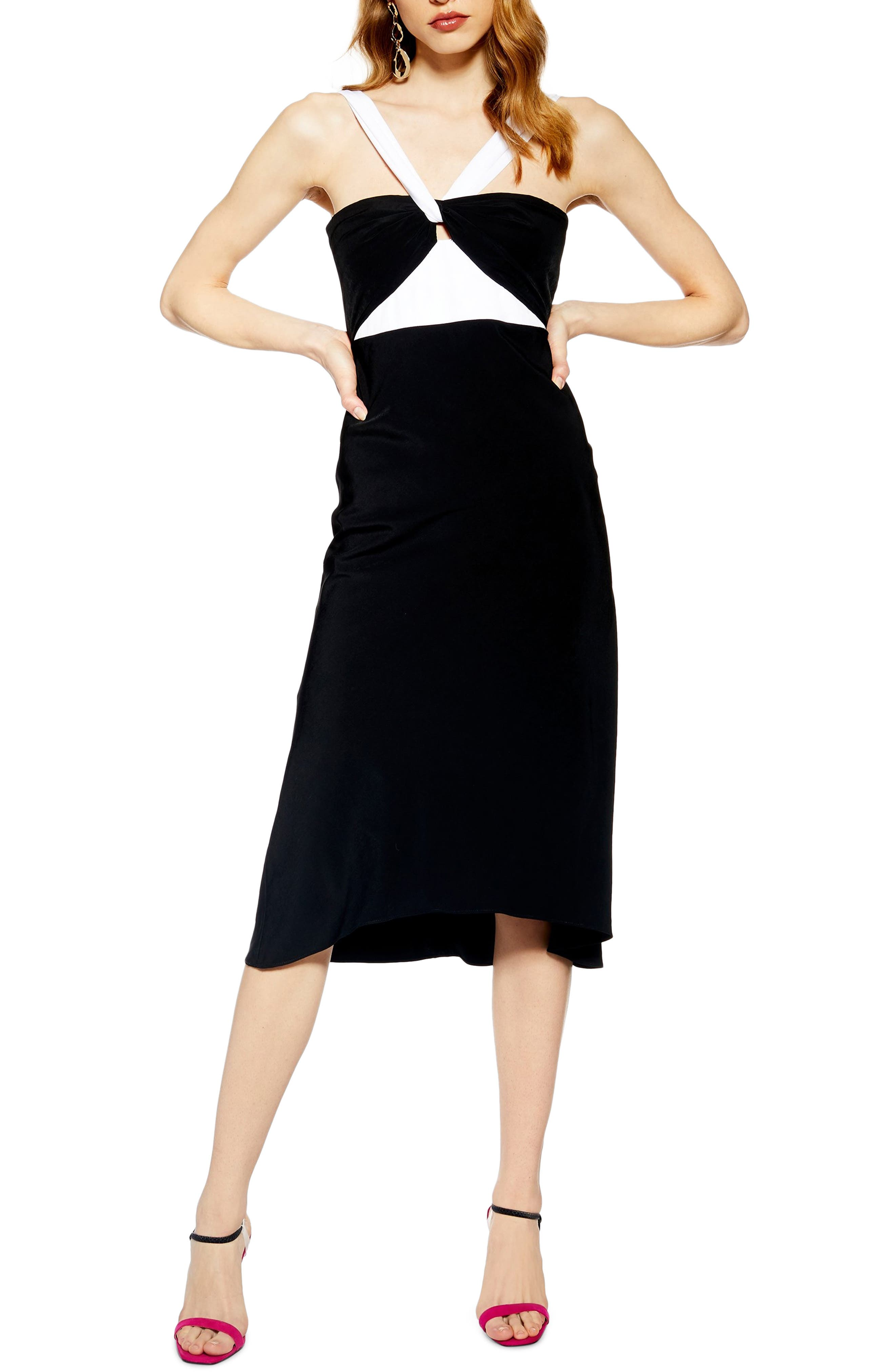 Topshop Twist Neck Halter Midi Dress, US (fits like 16-18) - Black