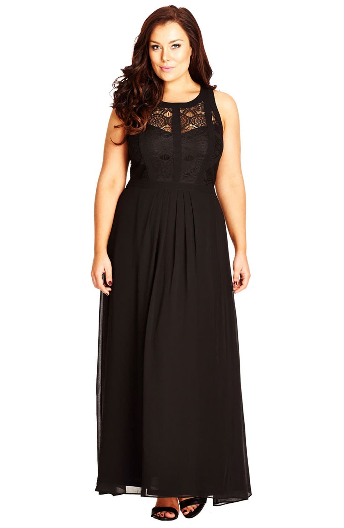 Paneled Lace Bodice Gown,                             Main thumbnail 1, color,                             BLACK