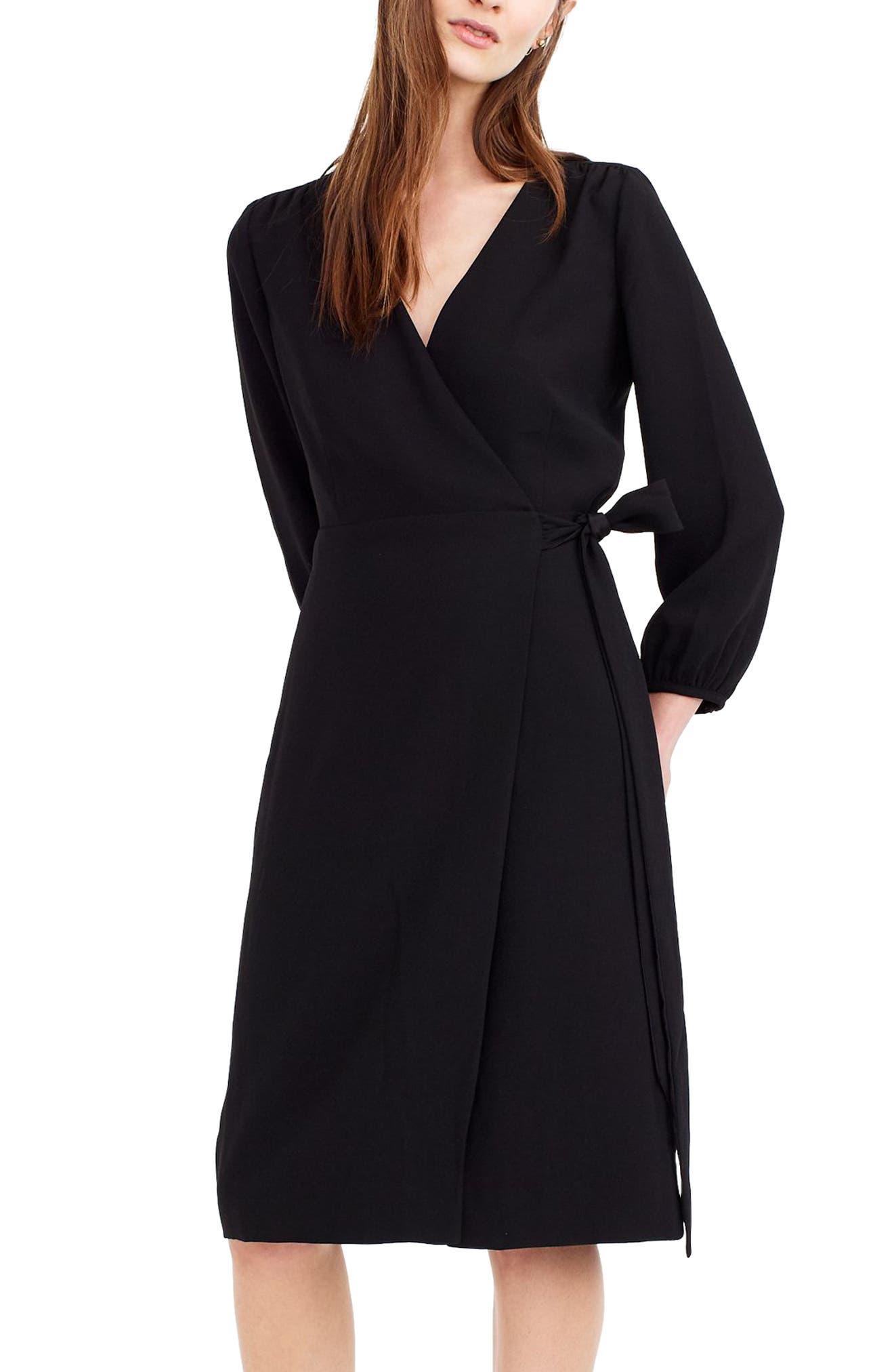 J.CREW 365 Crepe Wrap Dress, Main, color, 001