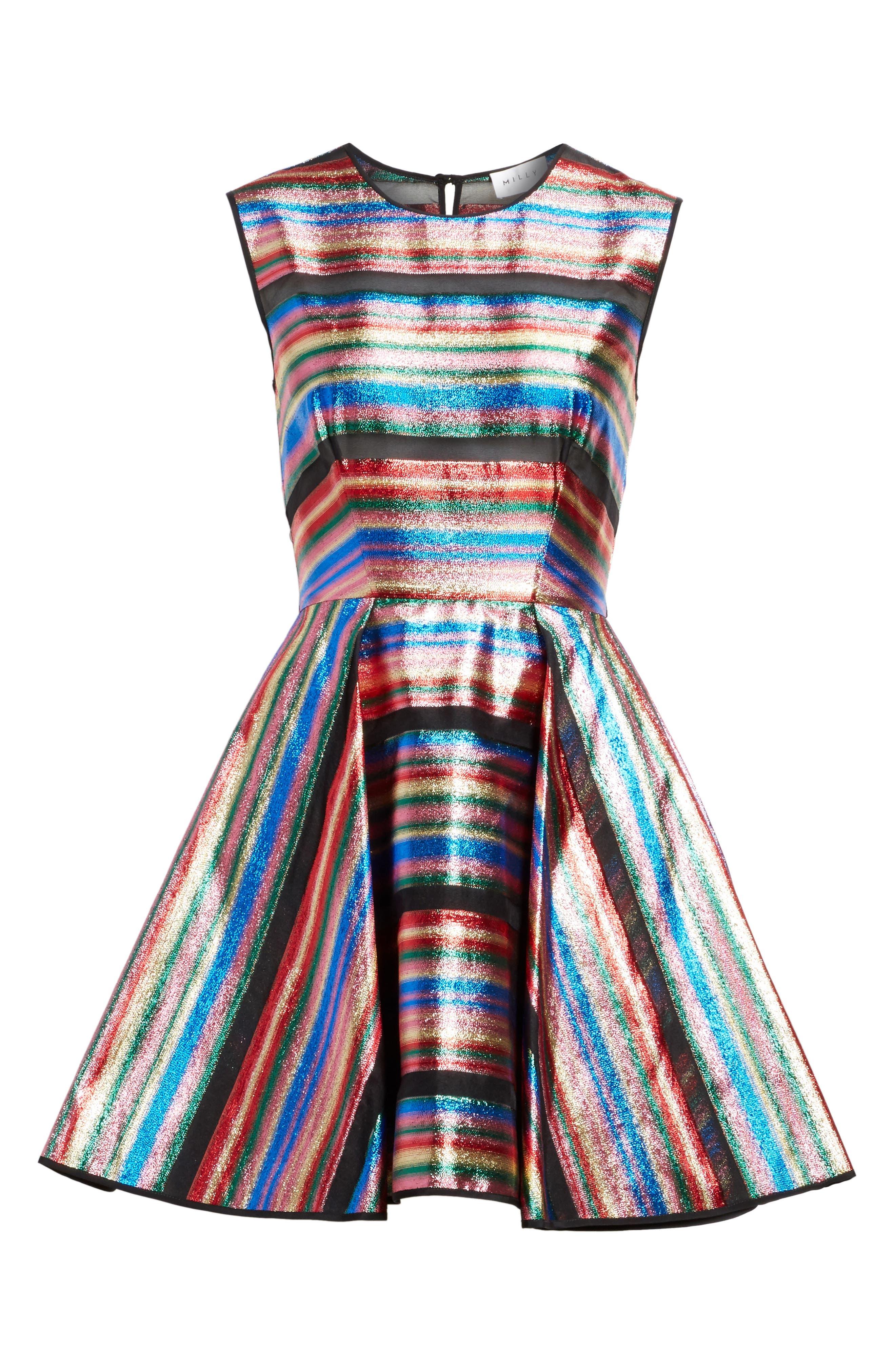 Balli Metallic Stripe Fit & Flare Dress,                             Alternate thumbnail 6, color,                             464
