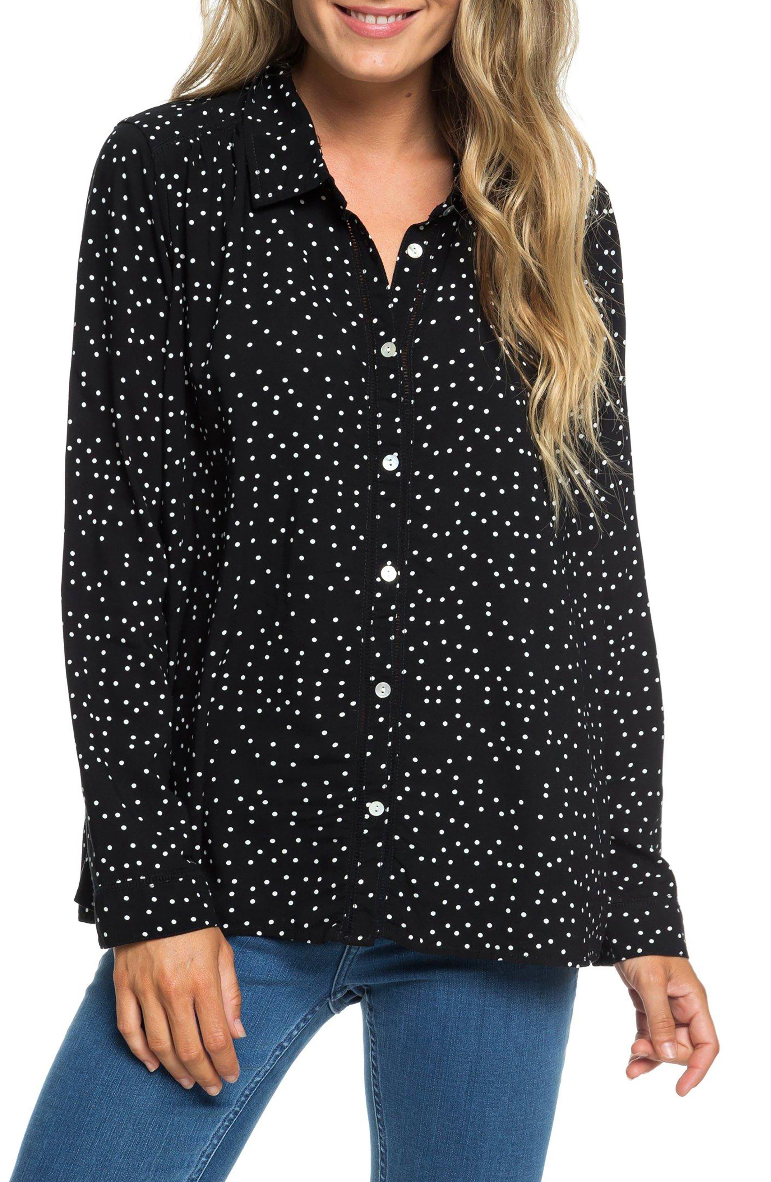 Urban Earth Polka Dot Shirt,                         Main,                         color, TRUE BLACK DOTS FOR DAYS