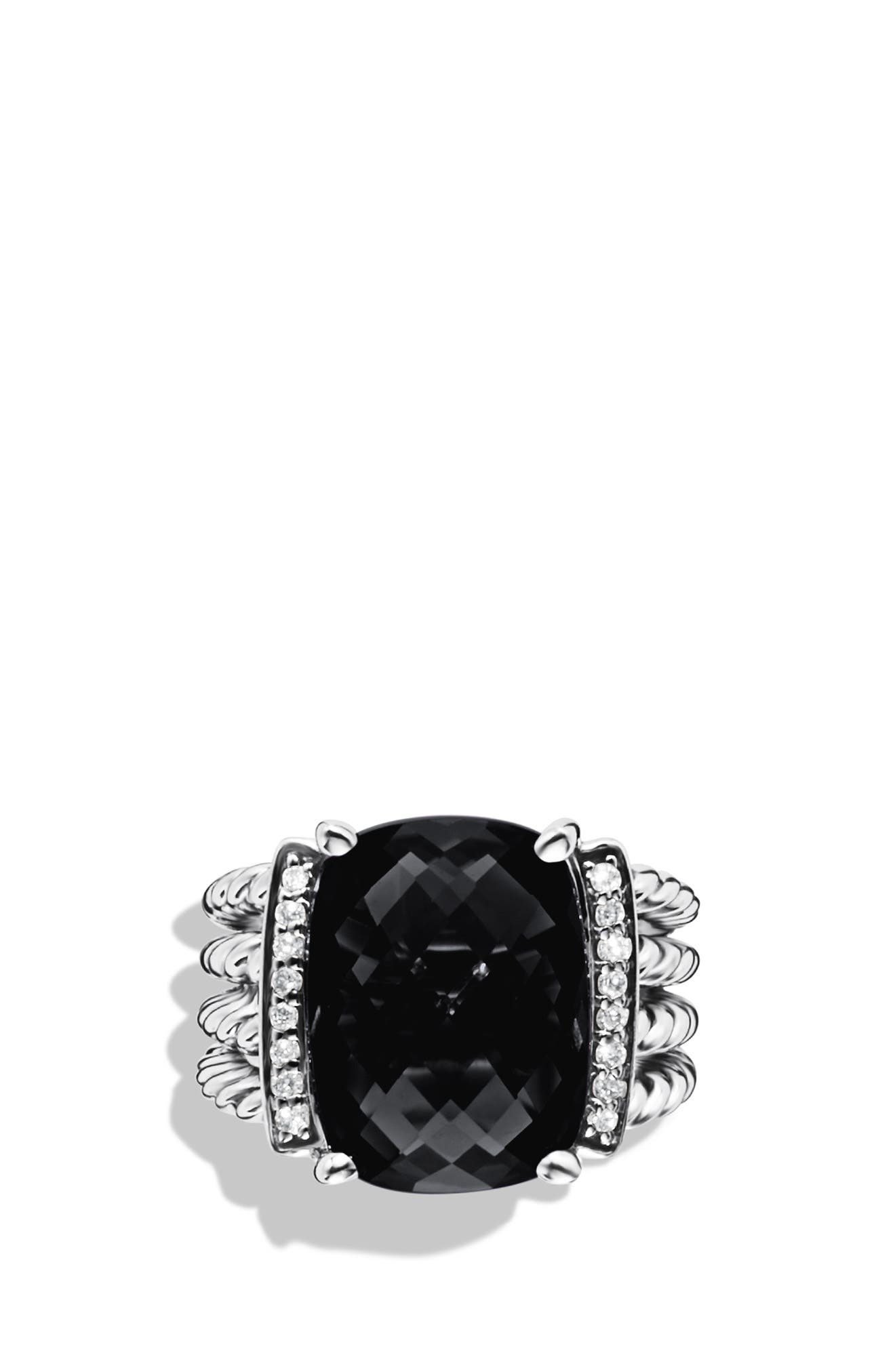 'Wheaton' Ring with Semiprecious Stone & Diamonds,                             Alternate thumbnail 2, color,                             BLACK ONYX