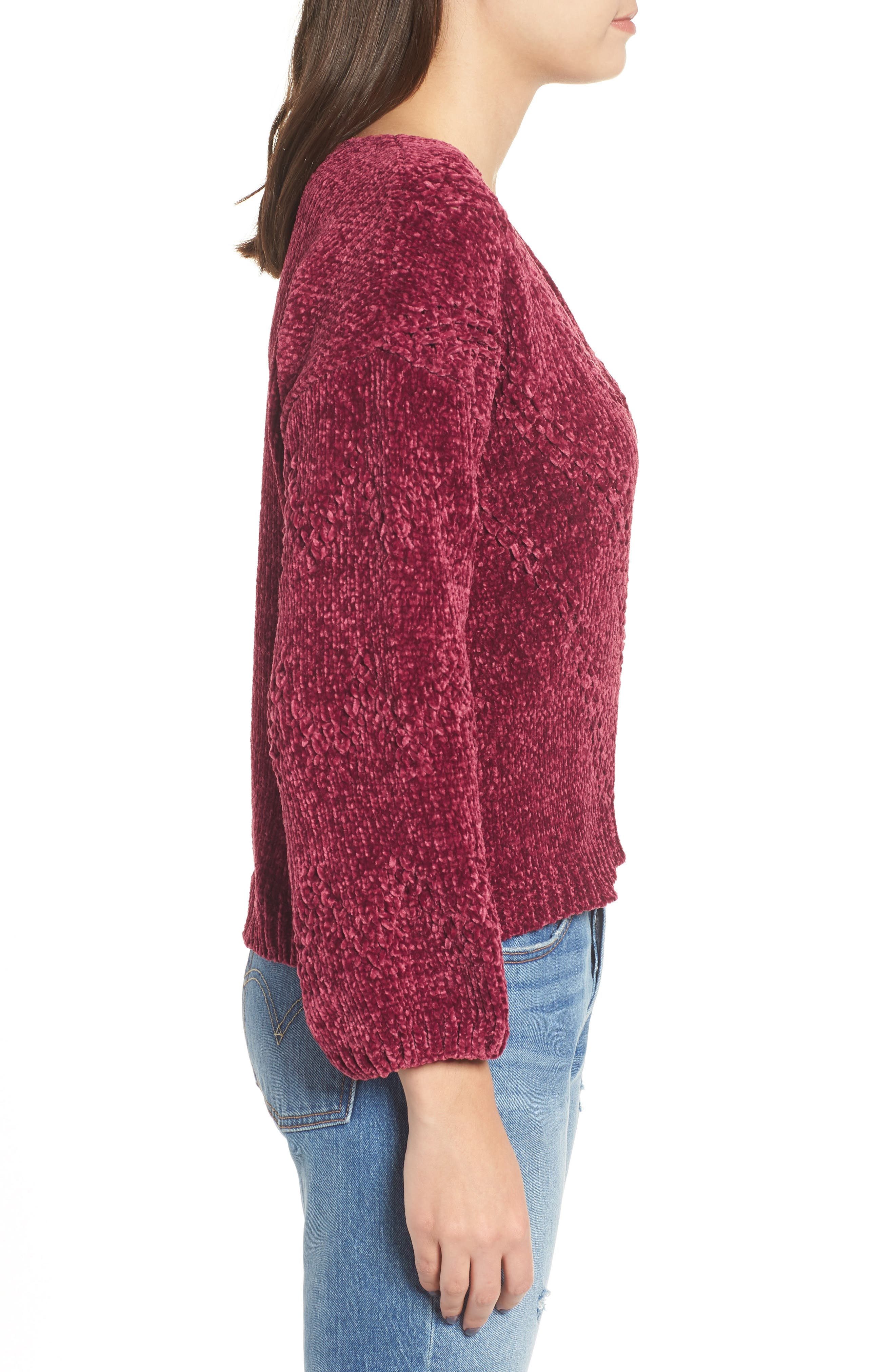 Chenille Plunging Sweater,                             Alternate thumbnail 3, color,                             500