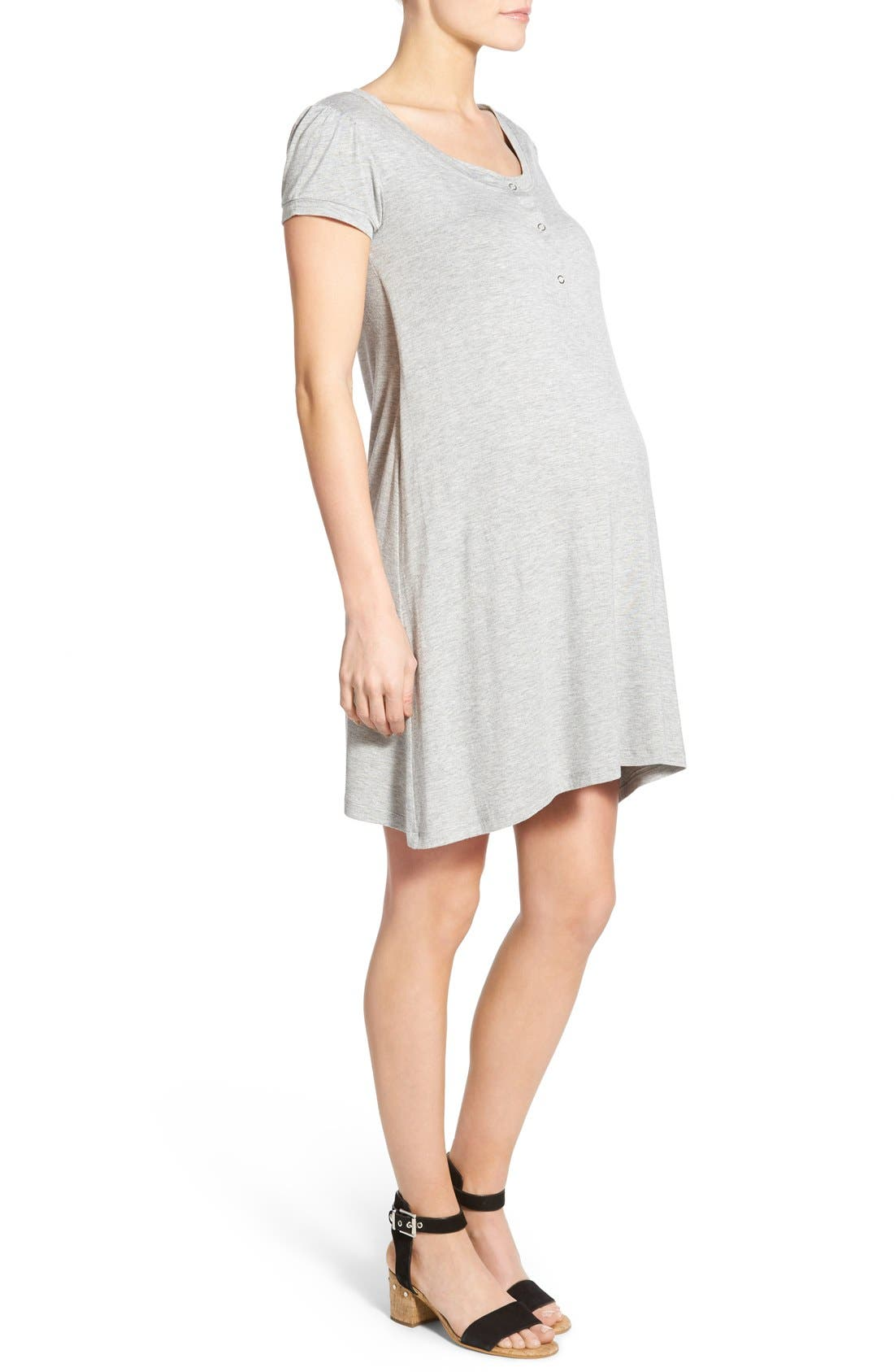 'Poppy' Maternity/Nursing Swing Dress,                             Alternate thumbnail 2, color,                             HEATHER GRAY