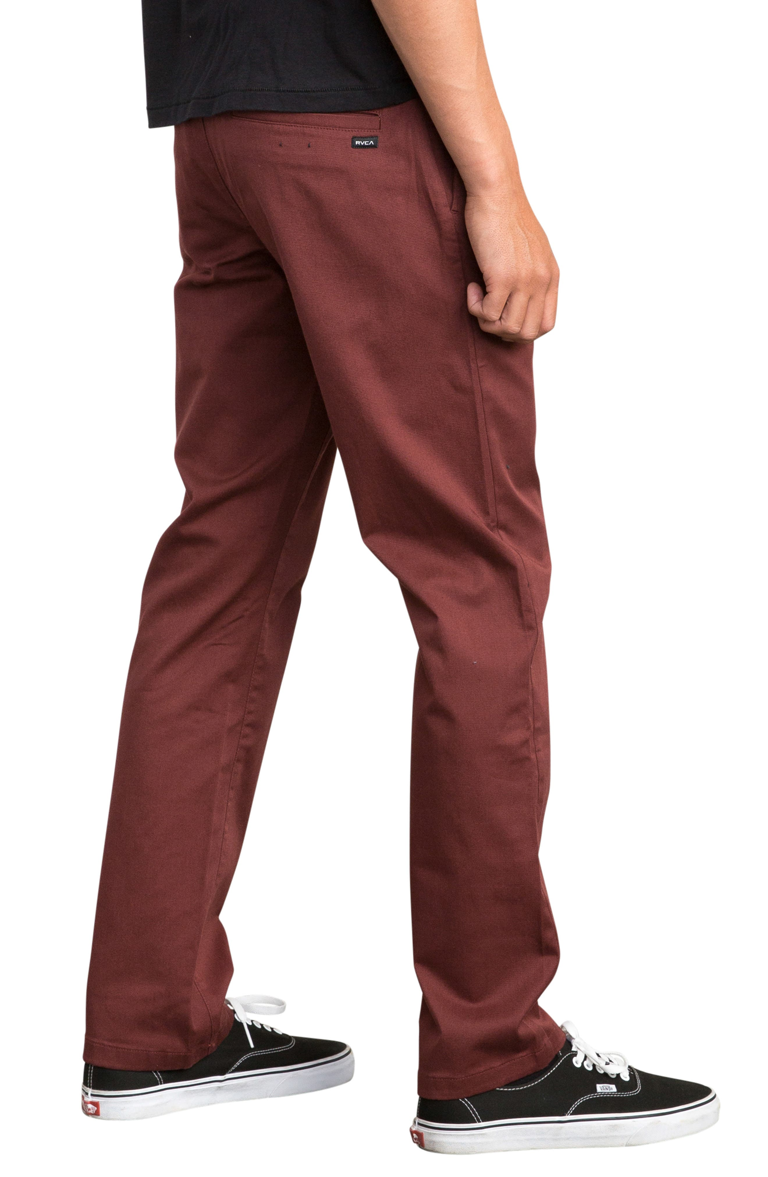 'The Week-End' Slim Straight Leg Stretch Twill Chinos,                             Alternate thumbnail 3, color,                             BORDEAUX
