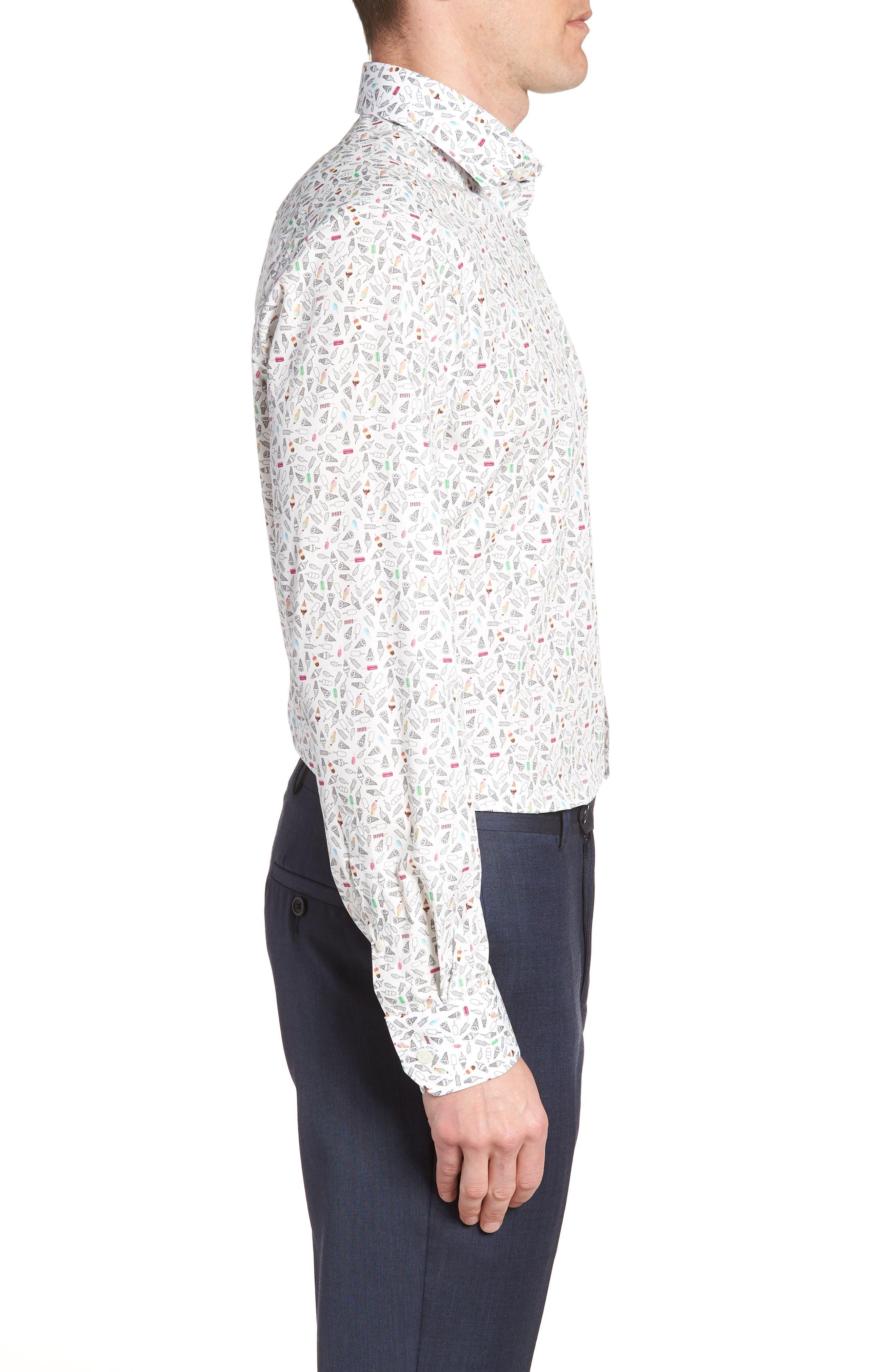 Contemporary Fit Print Dress Shirt,                             Alternate thumbnail 4, color,                             WHITE