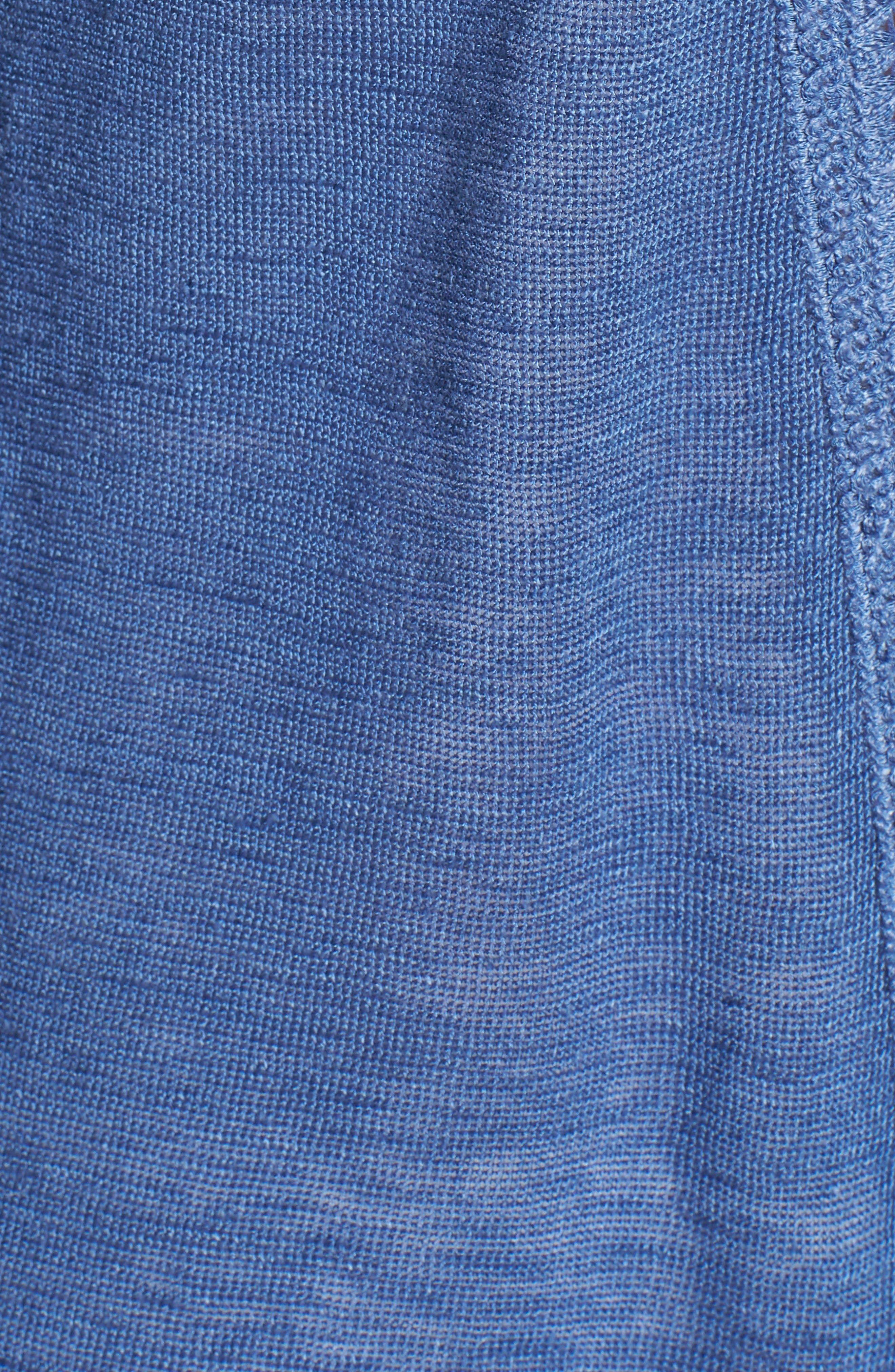 Crochet Trim Linen Blend Cardigan,                             Alternate thumbnail 5, color,                             400