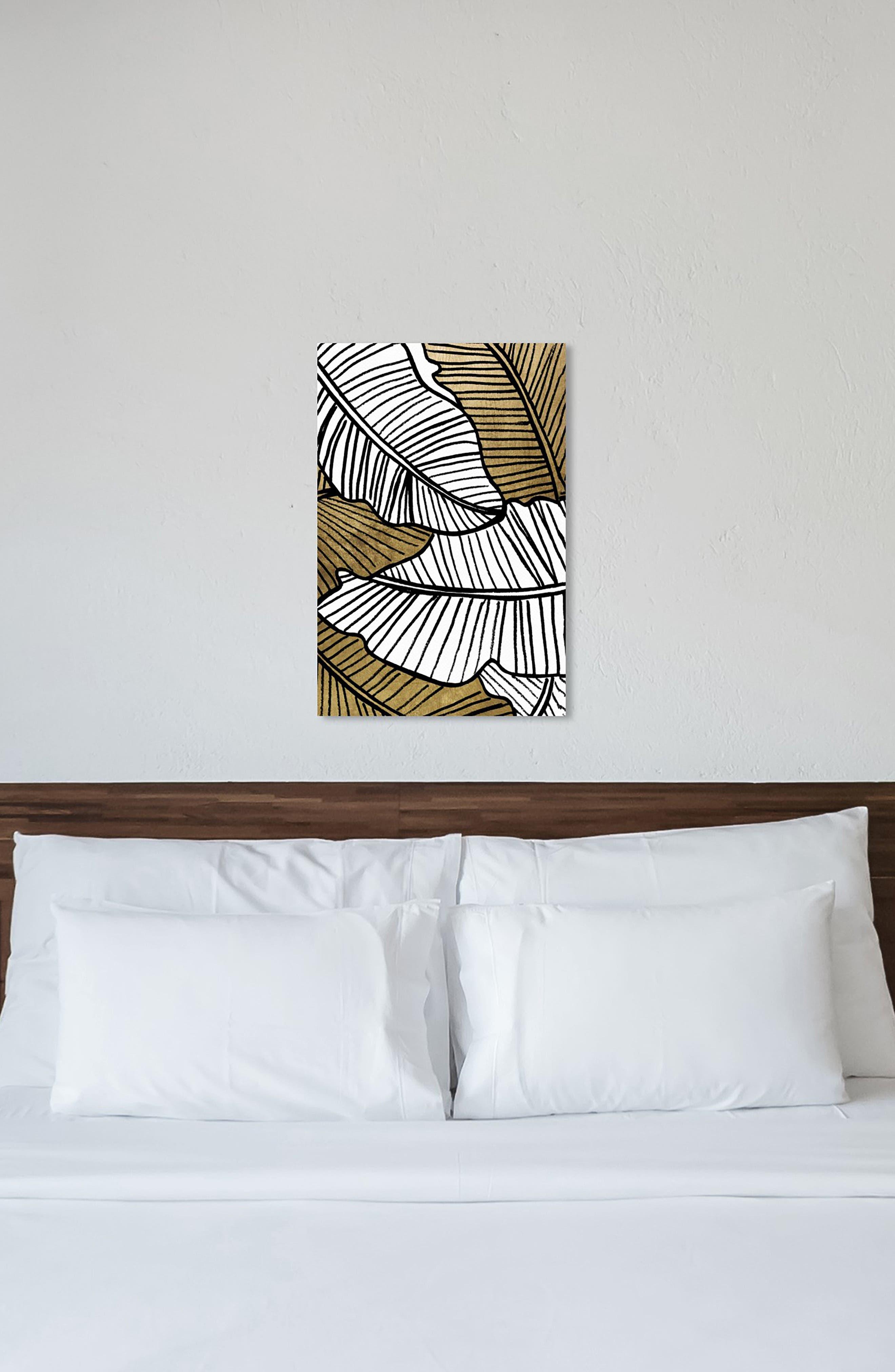 Golden Leaf Canvas Wall Art,                             Alternate thumbnail 7, color,                             BLACK WHITE GOLD