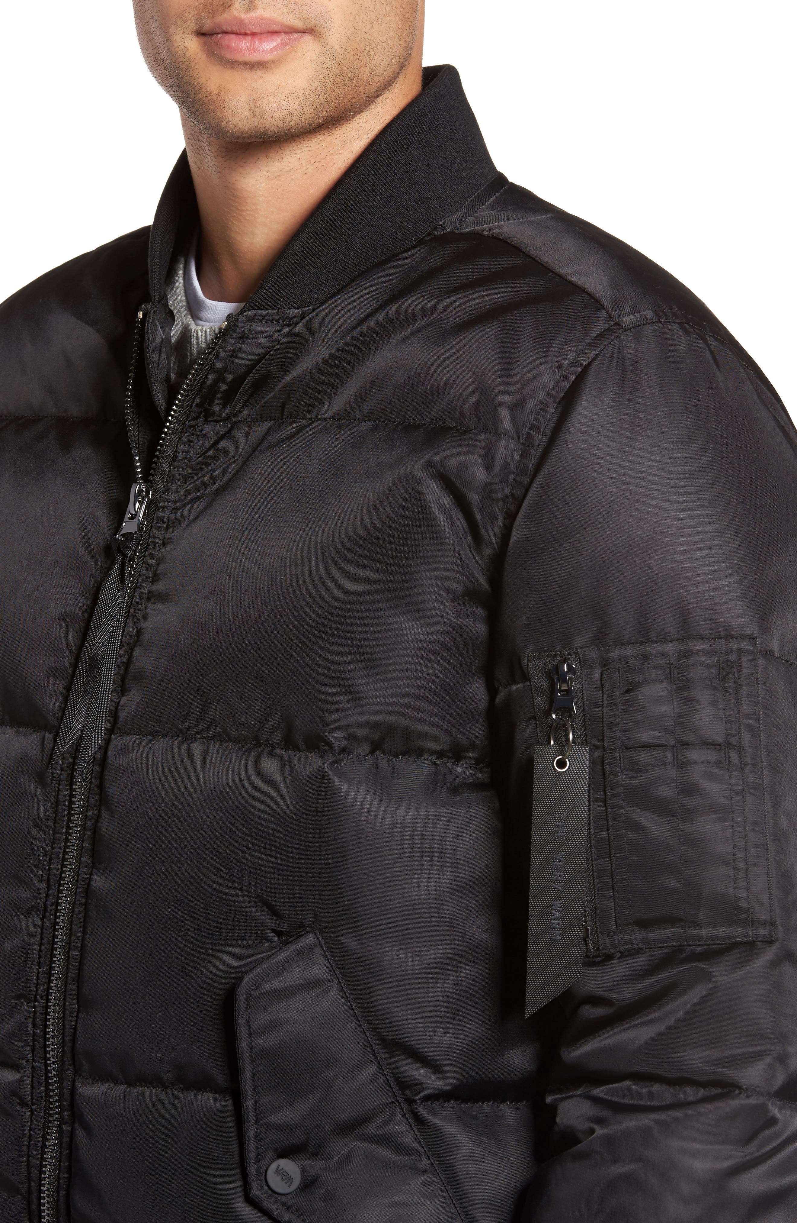 Quilted Down Bomber Jacket,                             Alternate thumbnail 4, color,                             001