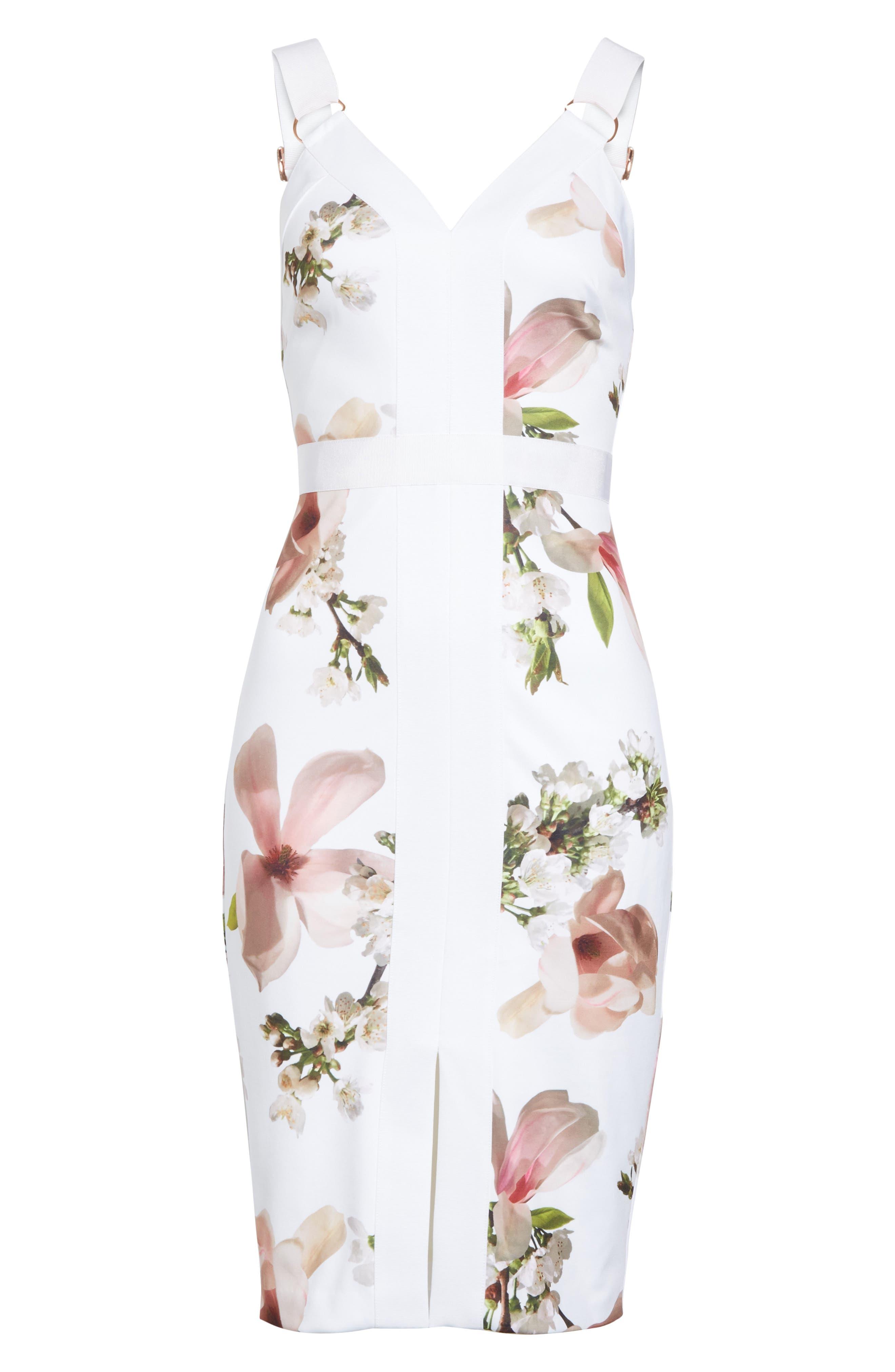 Harmony Floral Sheath Dress,                             Alternate thumbnail 6, color,                             110