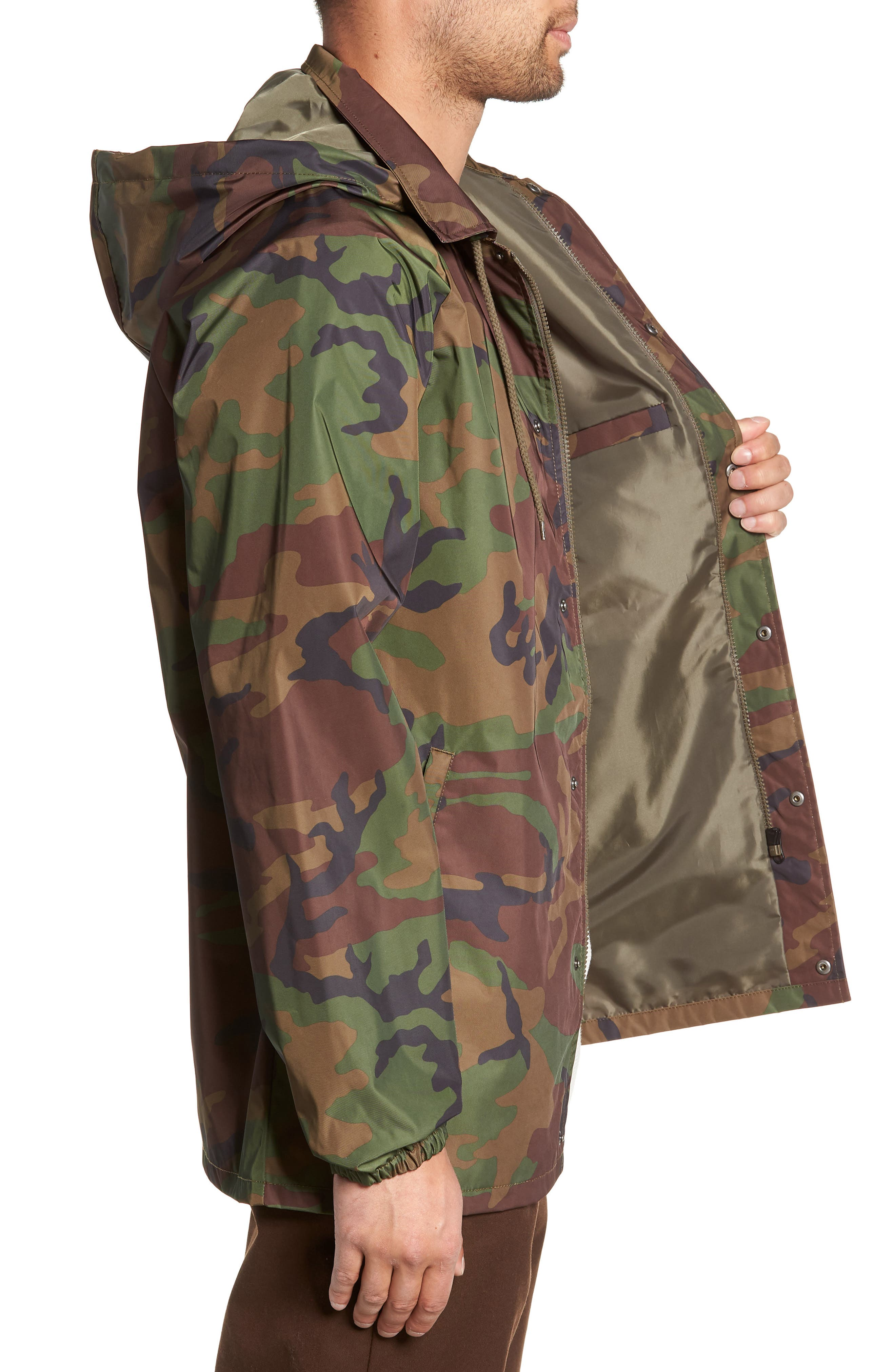 Torrey Water-Resistant Jacket with Detachable Hood,                             Alternate thumbnail 3, color,                             CAMO