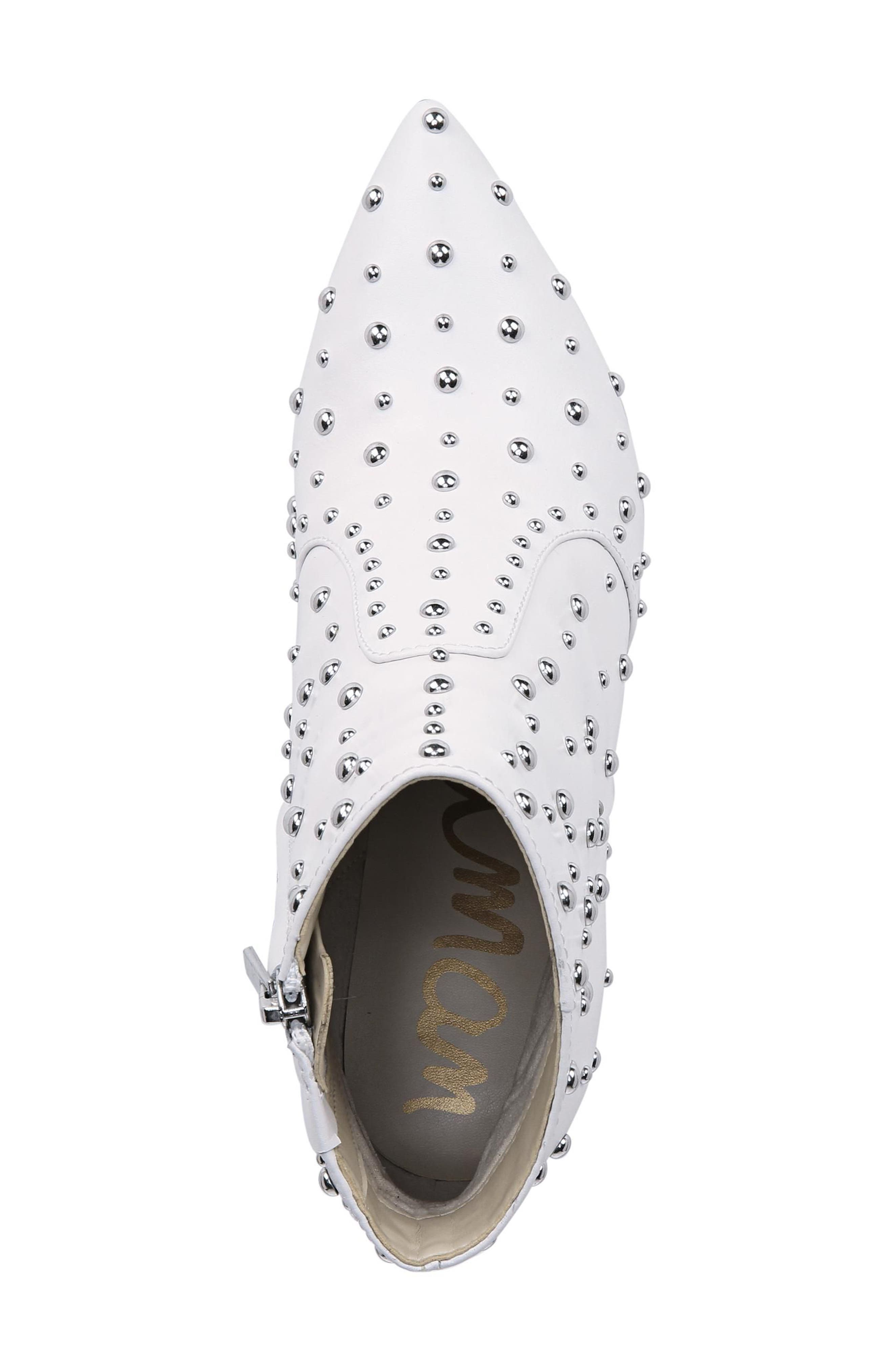 Roya Studded Boot,                             Alternate thumbnail 5, color,                             BRIGHT WHITE LEATHER