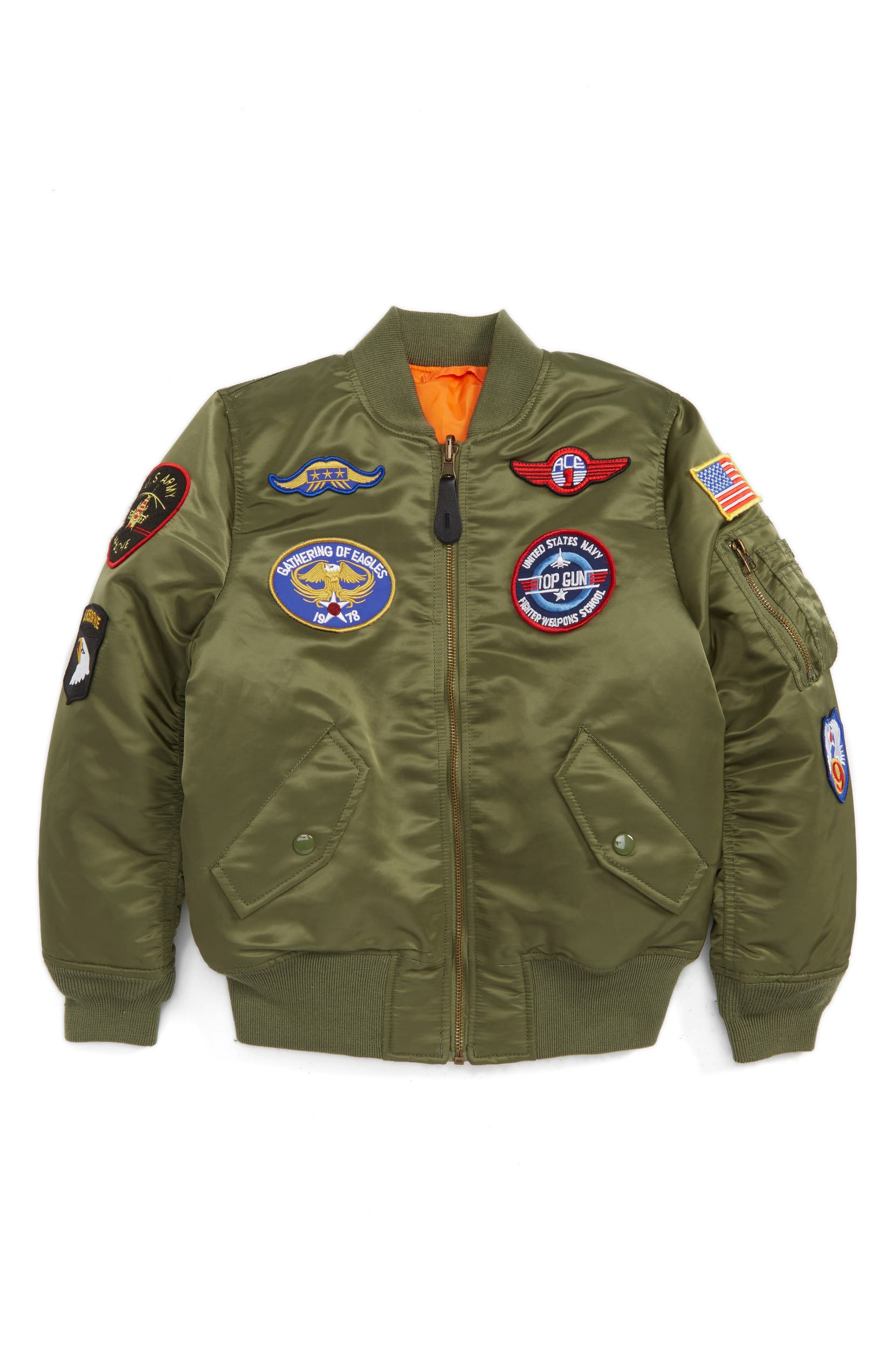 Alpha Industries MA-1 Patch Flight Jacket (Toddler Boys 4ef6fda2f1c