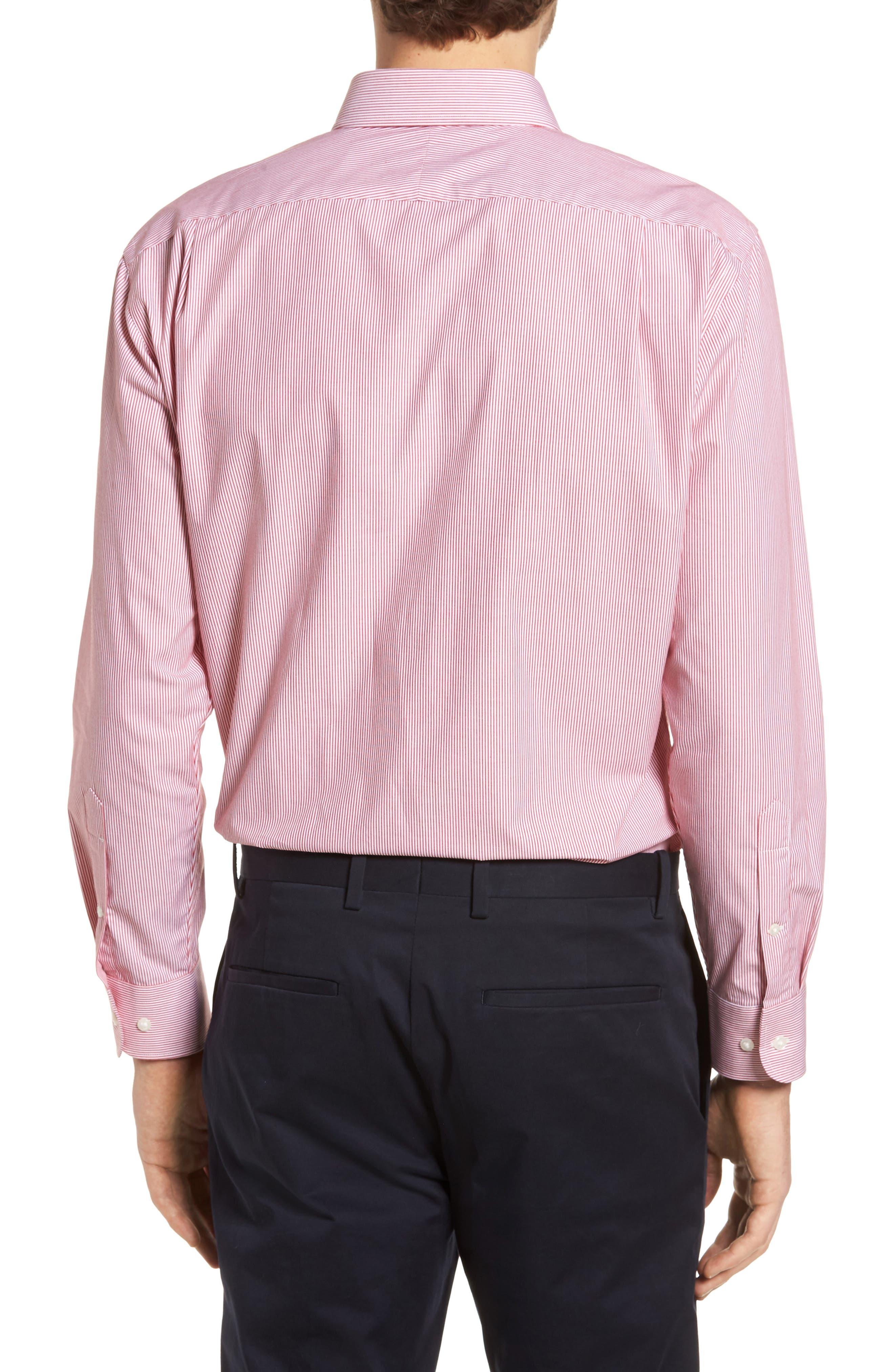 Trim Fit Non-Iron Stripe Dress Shirt,                             Alternate thumbnail 17, color,