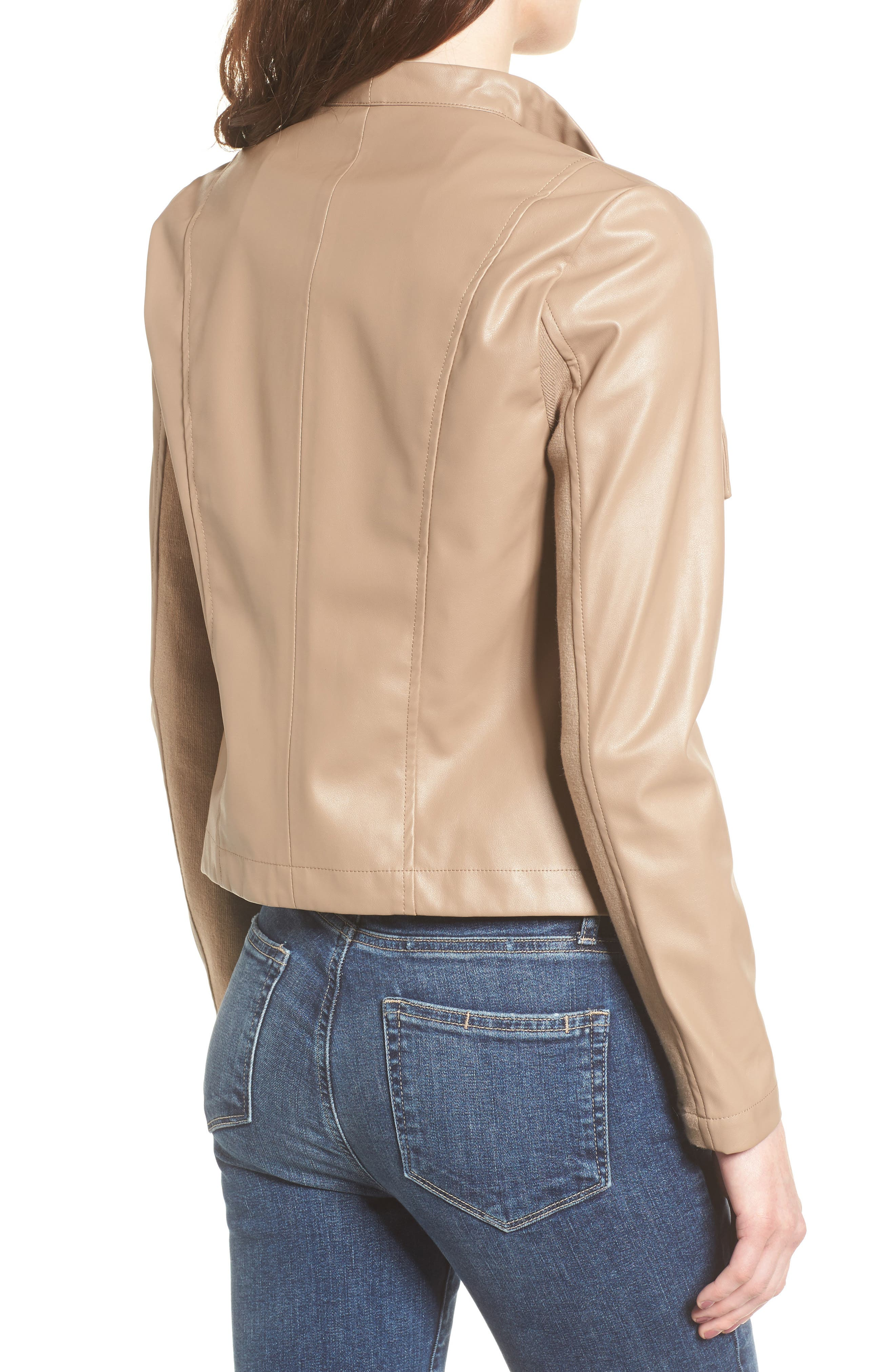 'Peppin' Drape Front Faux Leather Jacket,                             Alternate thumbnail 2, color,                             240