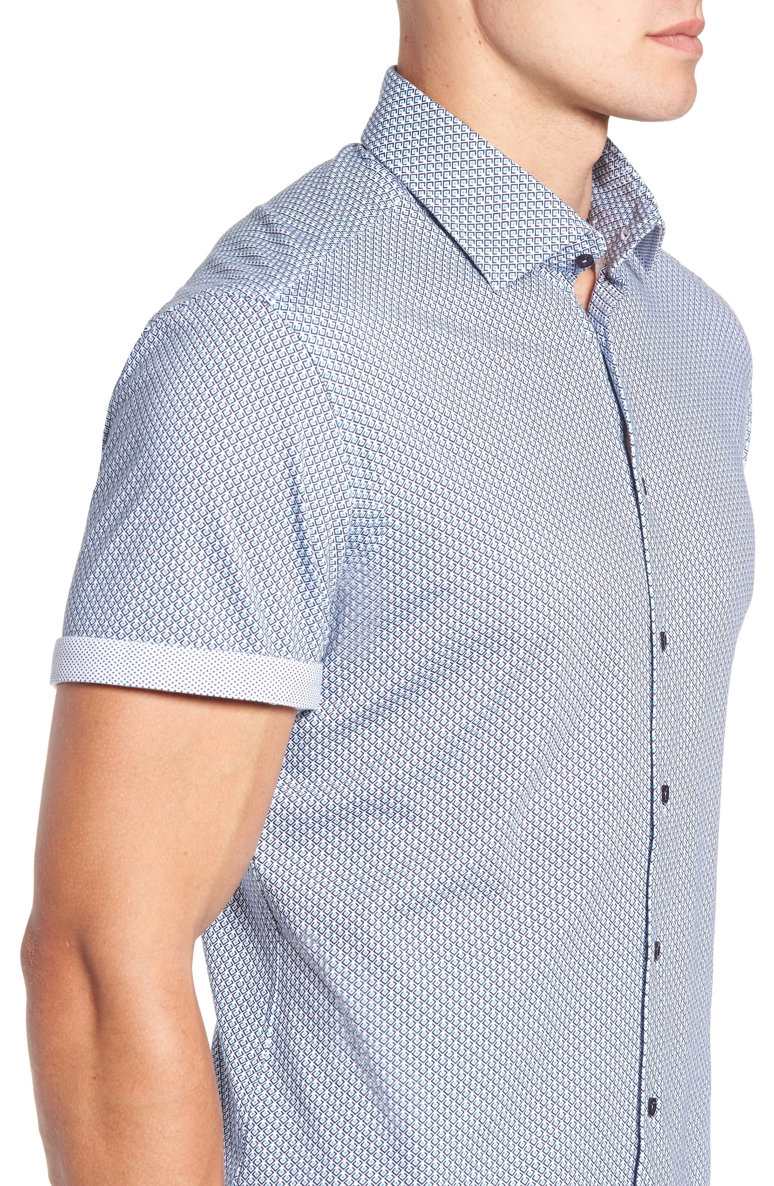 Trim Fit Geo Print Sport Shirt,                             Alternate thumbnail 2, color,                             BLUE