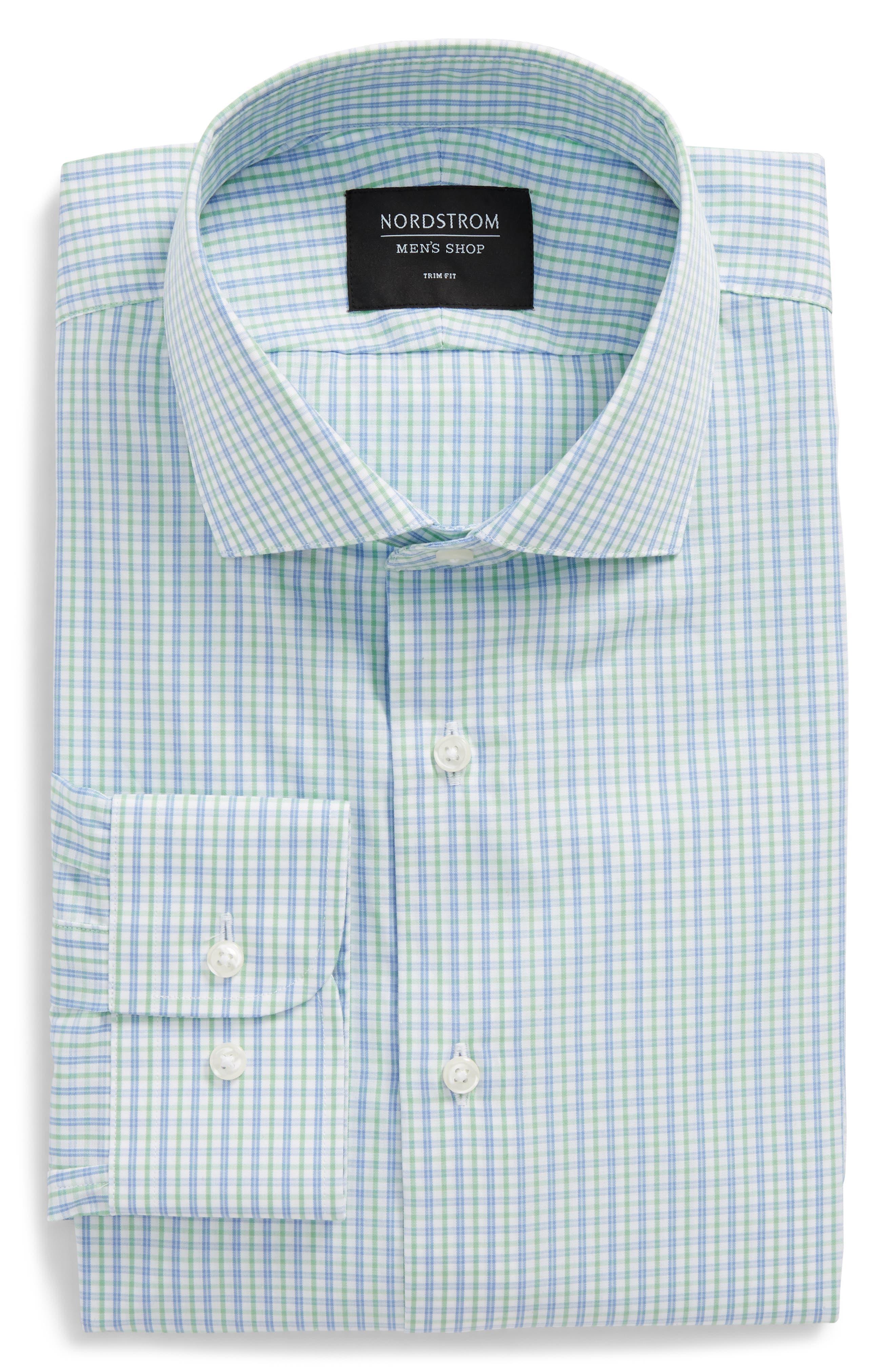Trim Fit Check Dress Shirt,                         Main,                         color, 330