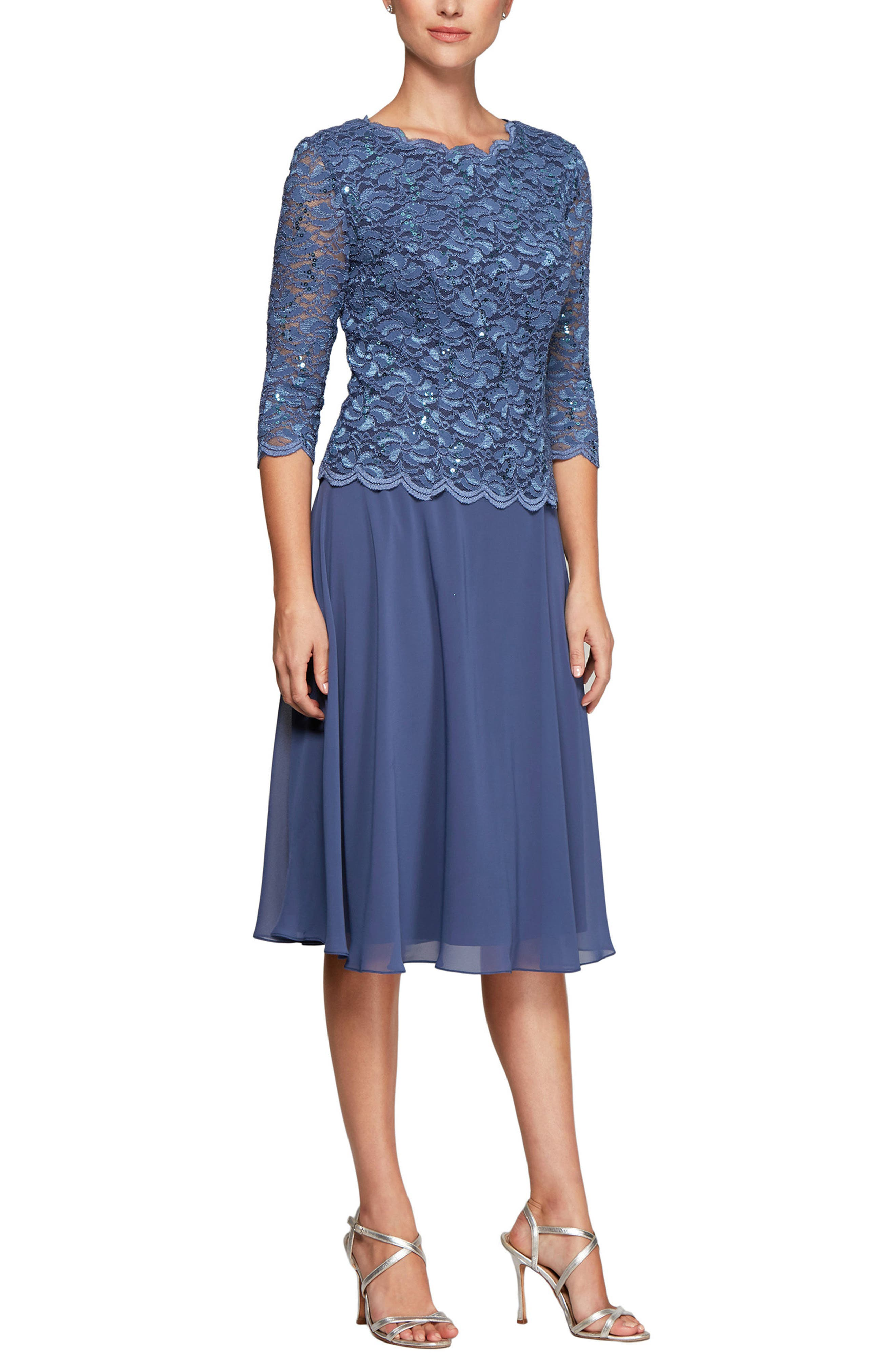 Mock Two-Piece Tea Length Dress,                         Main,                         color, WEDGEWOOD
