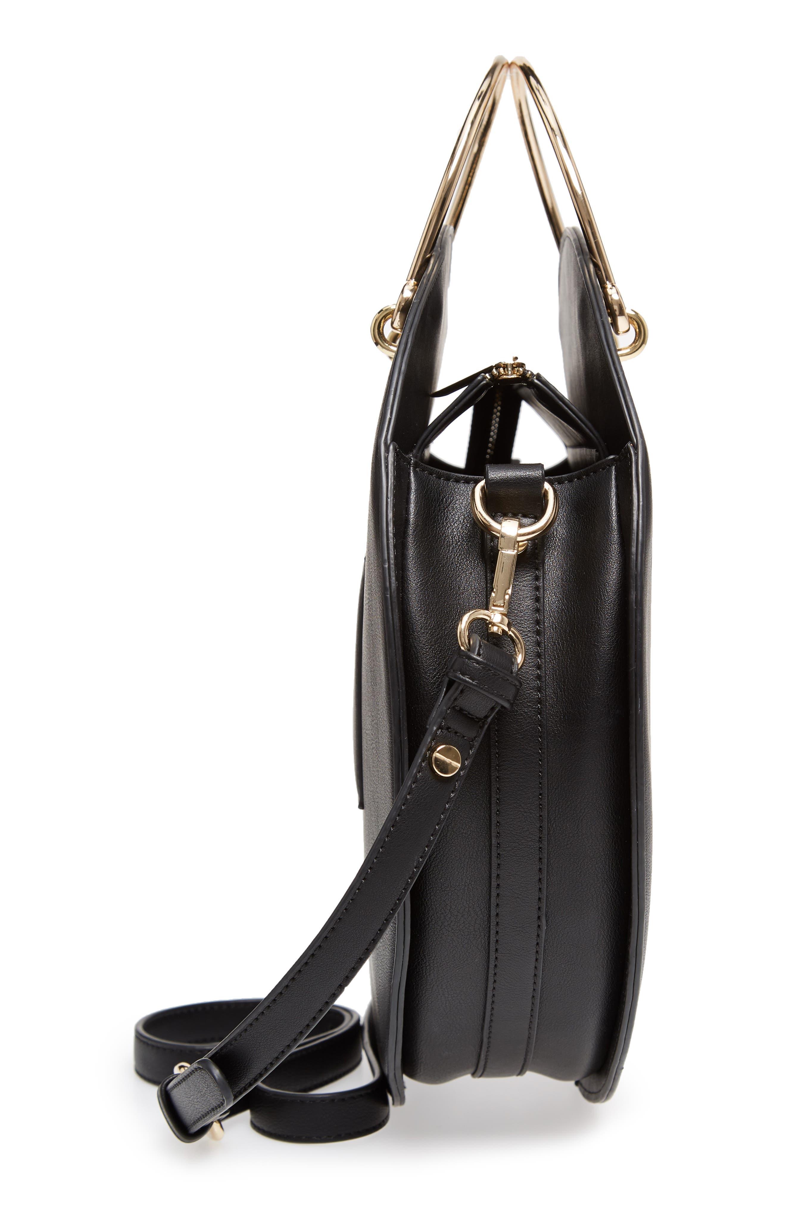 Mali + Lili Vegan Leather Round Top Handle Bag,                             Alternate thumbnail 5, color,                             001