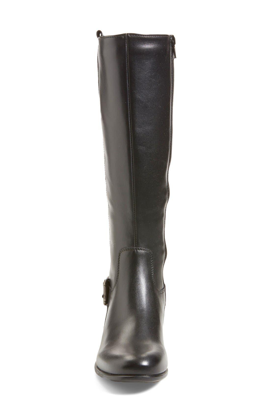 'Stefanie' Waterproof Boot,                             Alternate thumbnail 9, color,                             BLACK LEATHER