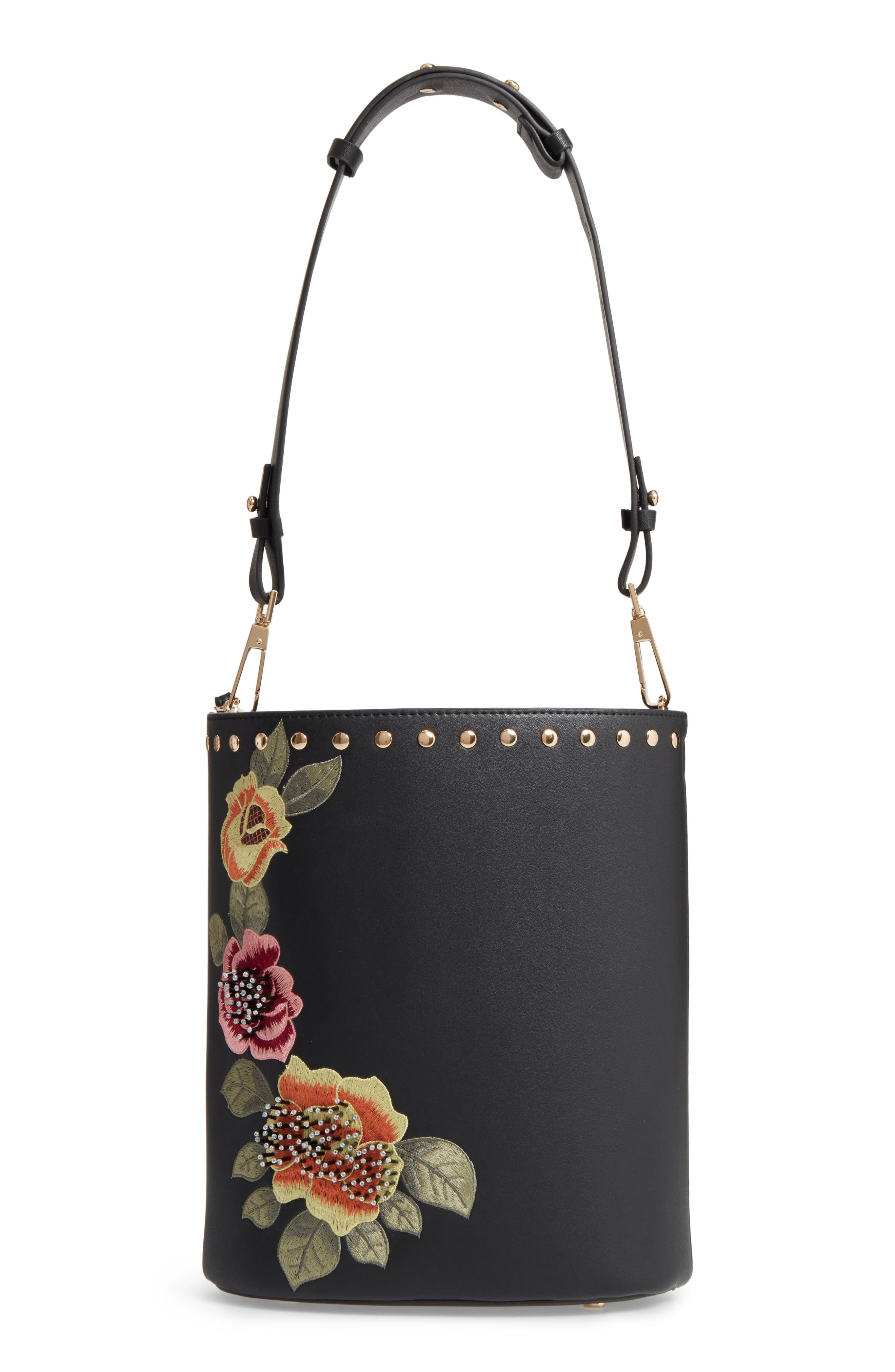 Sadie Floral Faux Leather Bucket Bag,                             Main thumbnail 1, color,