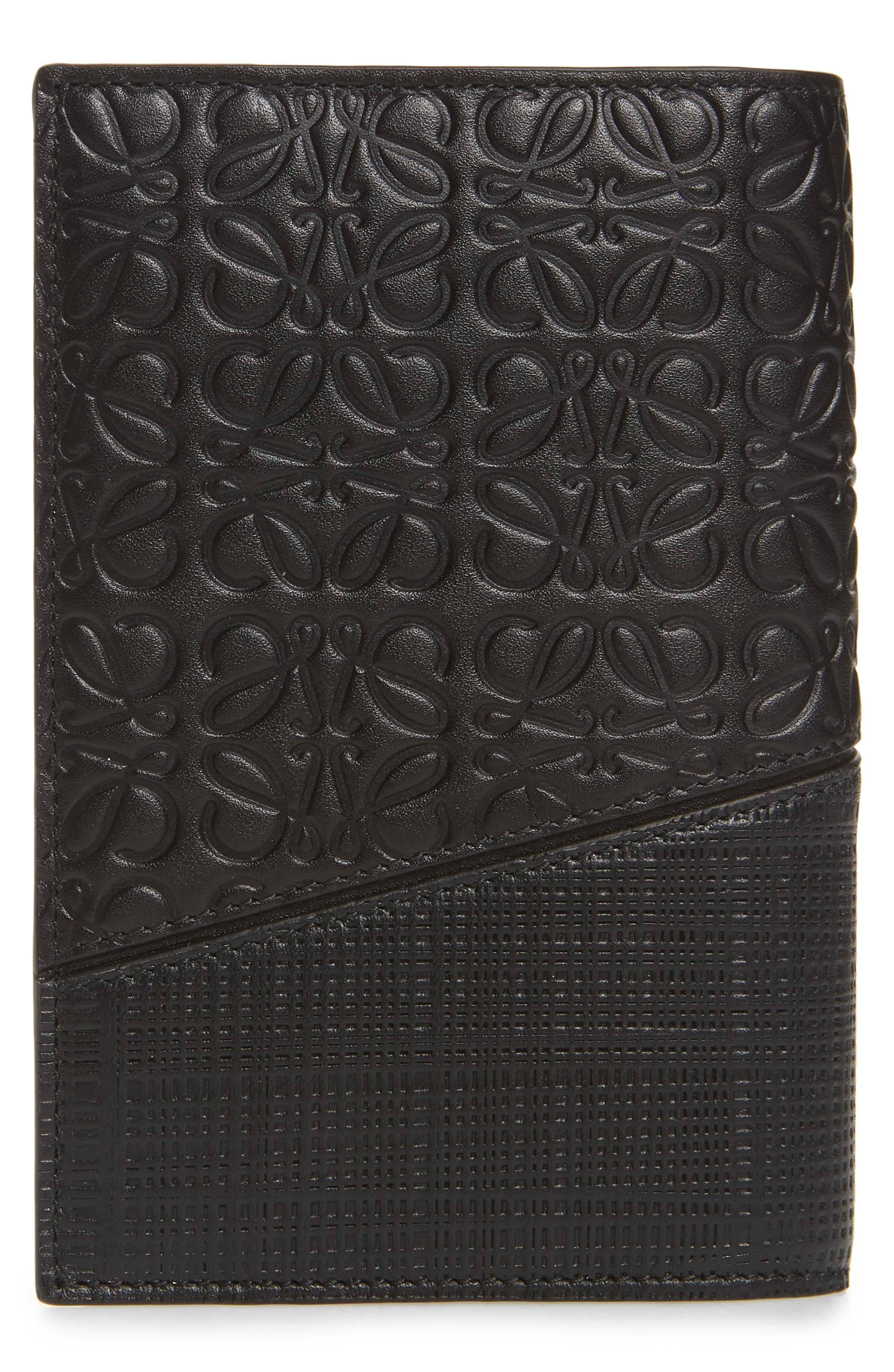 Leather Puzzle Passport Case,                             Alternate thumbnail 3, color,                             BLACK