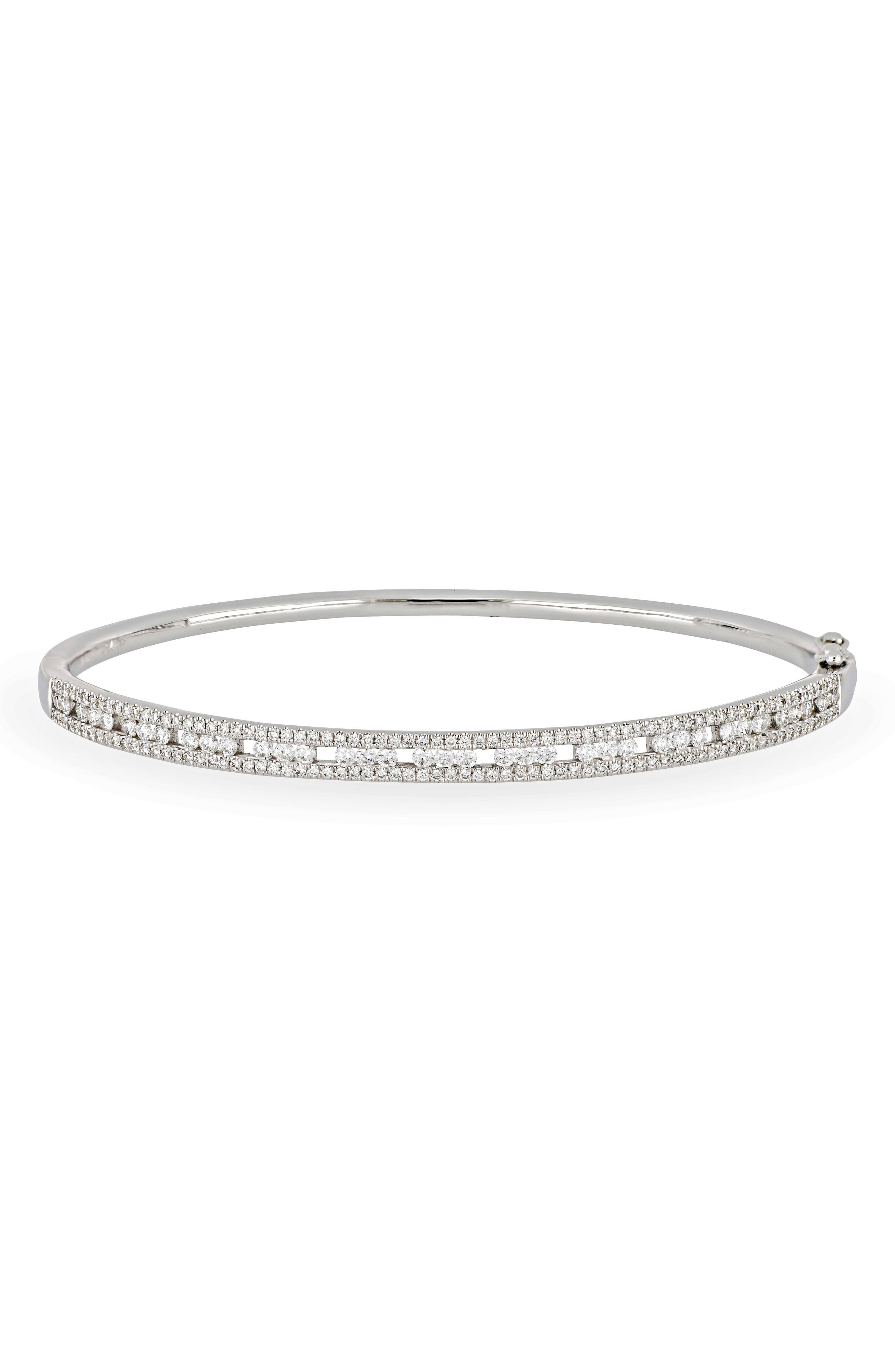 Amara Deluxe Hinge Bangle,                             Main thumbnail 1, color,                             WHITE GOLD