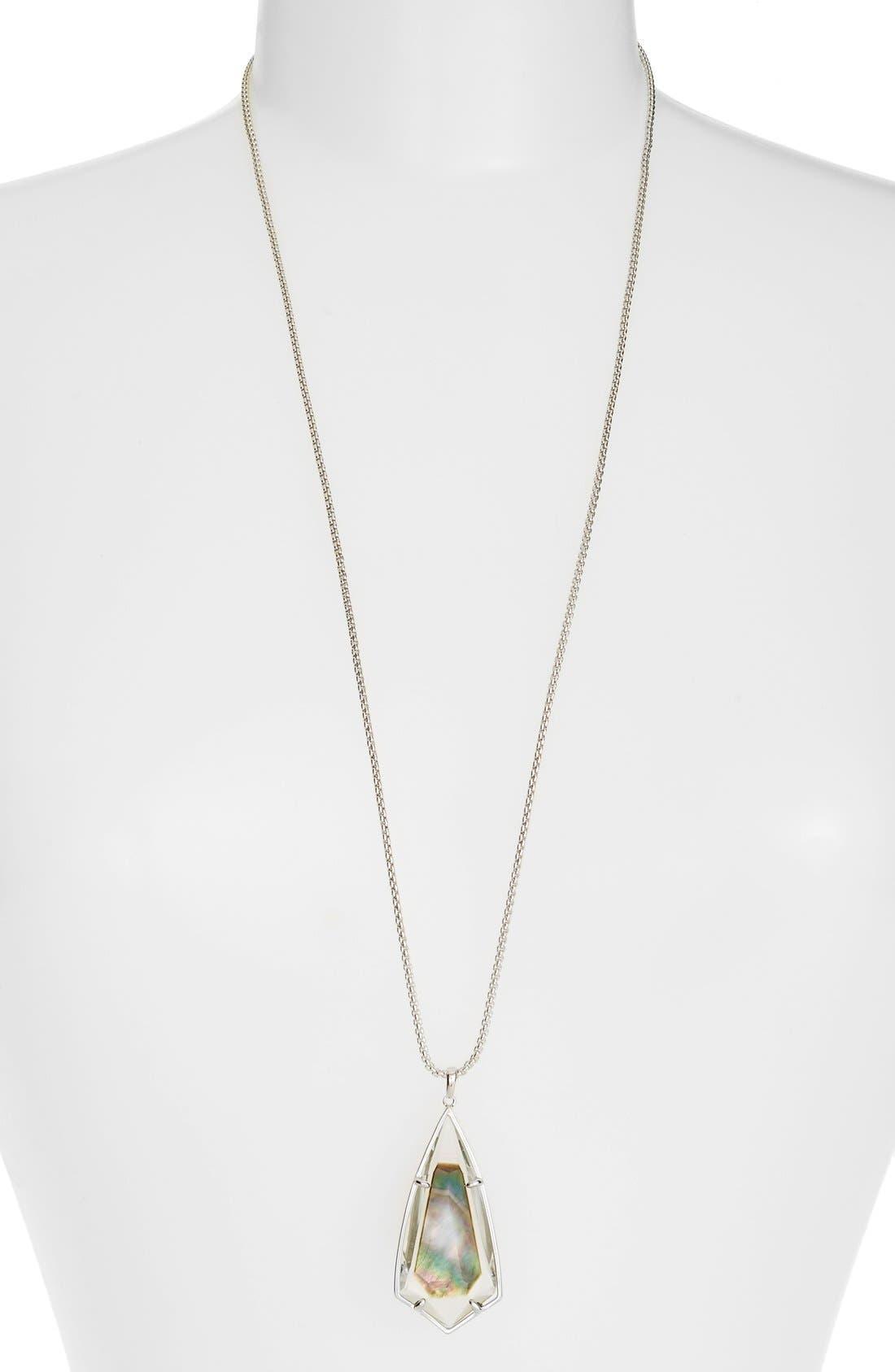 'Carole' Long Semiprecious Stone Pendant Necklace,                             Main thumbnail 4, color,