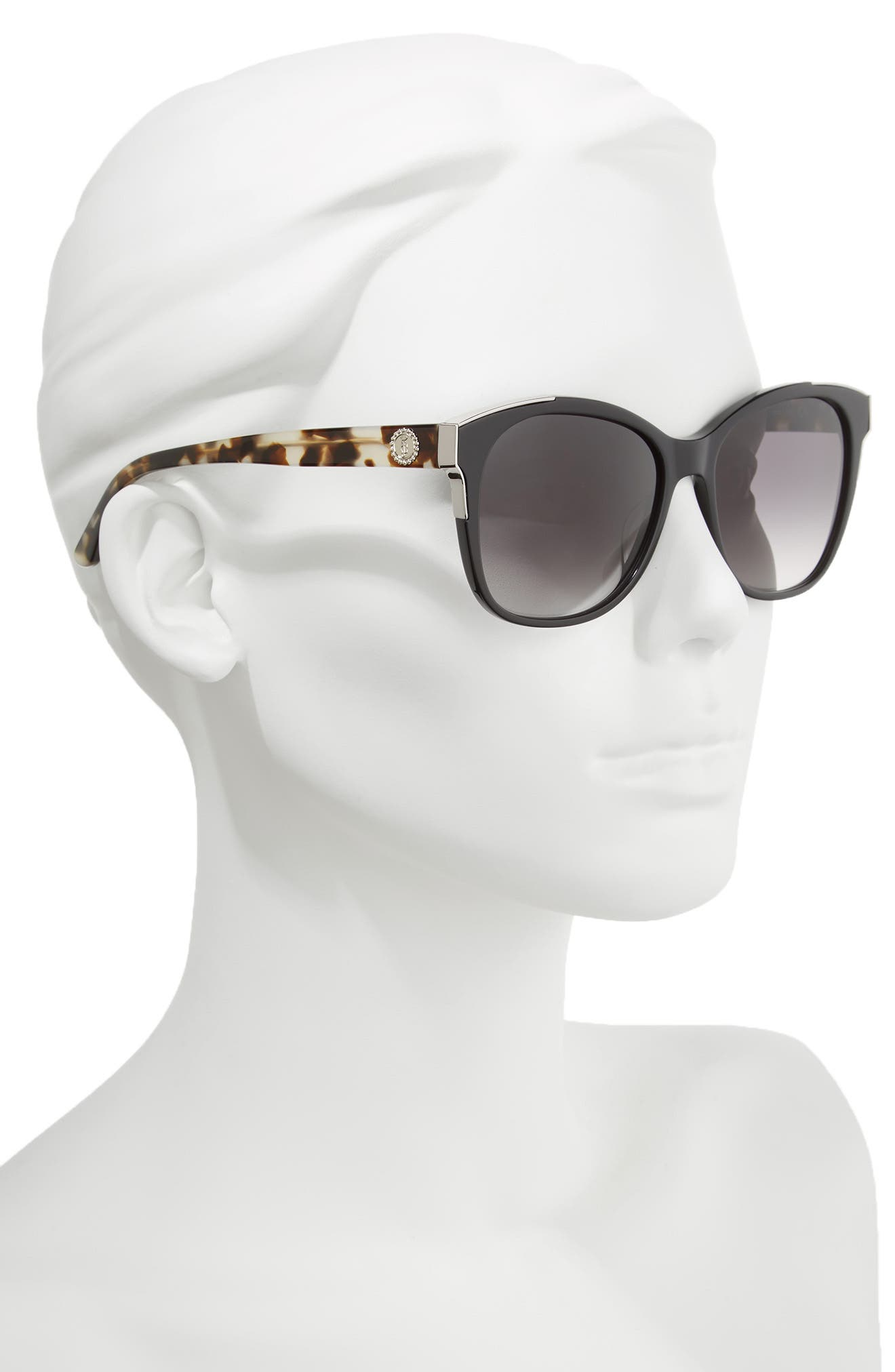 Black Label 56mm Cat Eye Sunglasses,                             Alternate thumbnail 2, color,                             BLACK