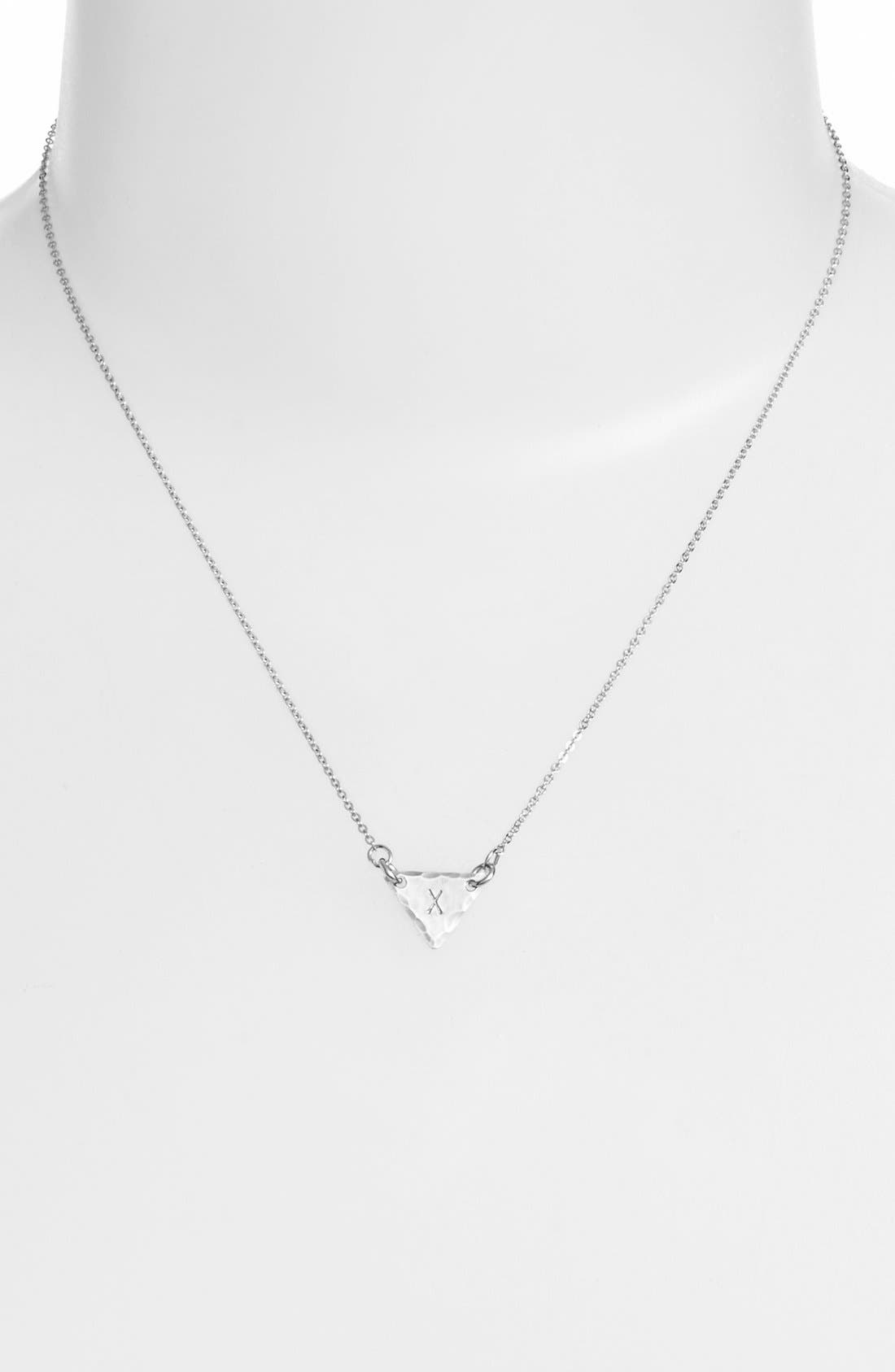 Sterling Silver Initial Mini Triangle Necklace,                             Alternate thumbnail 50, color,