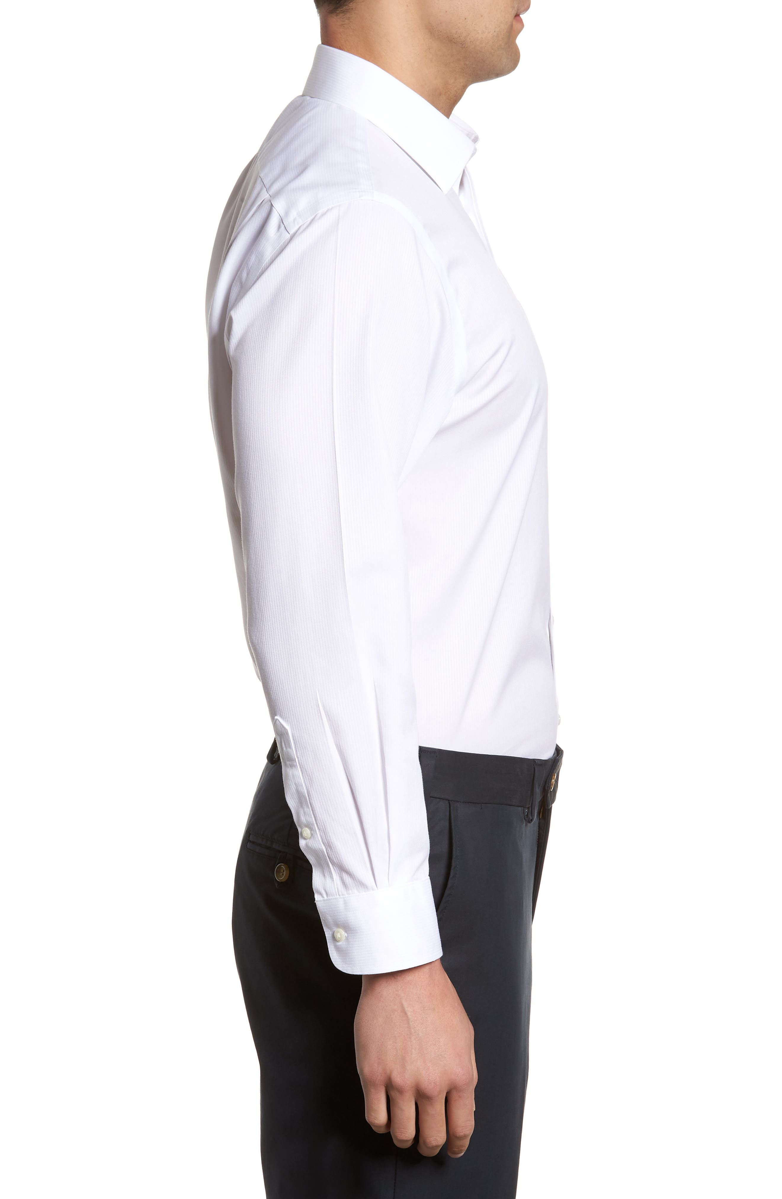 Smartcare<sup>™</sup> Traditional Fit Stripe Dress Shirt,                             Alternate thumbnail 4, color,                             WHITE