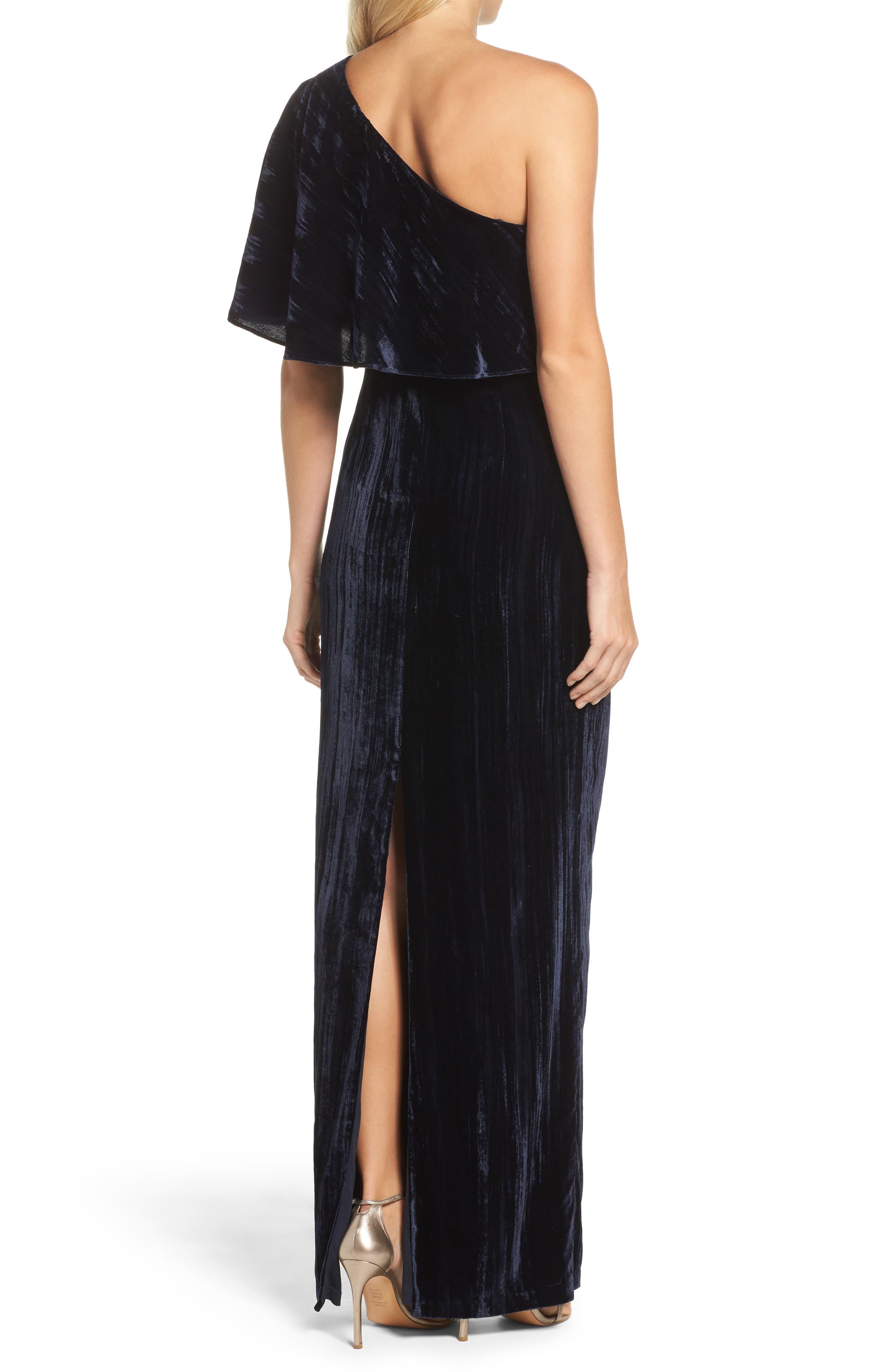 One-Shoulder Velvet Gown,                             Alternate thumbnail 2, color,                             412
