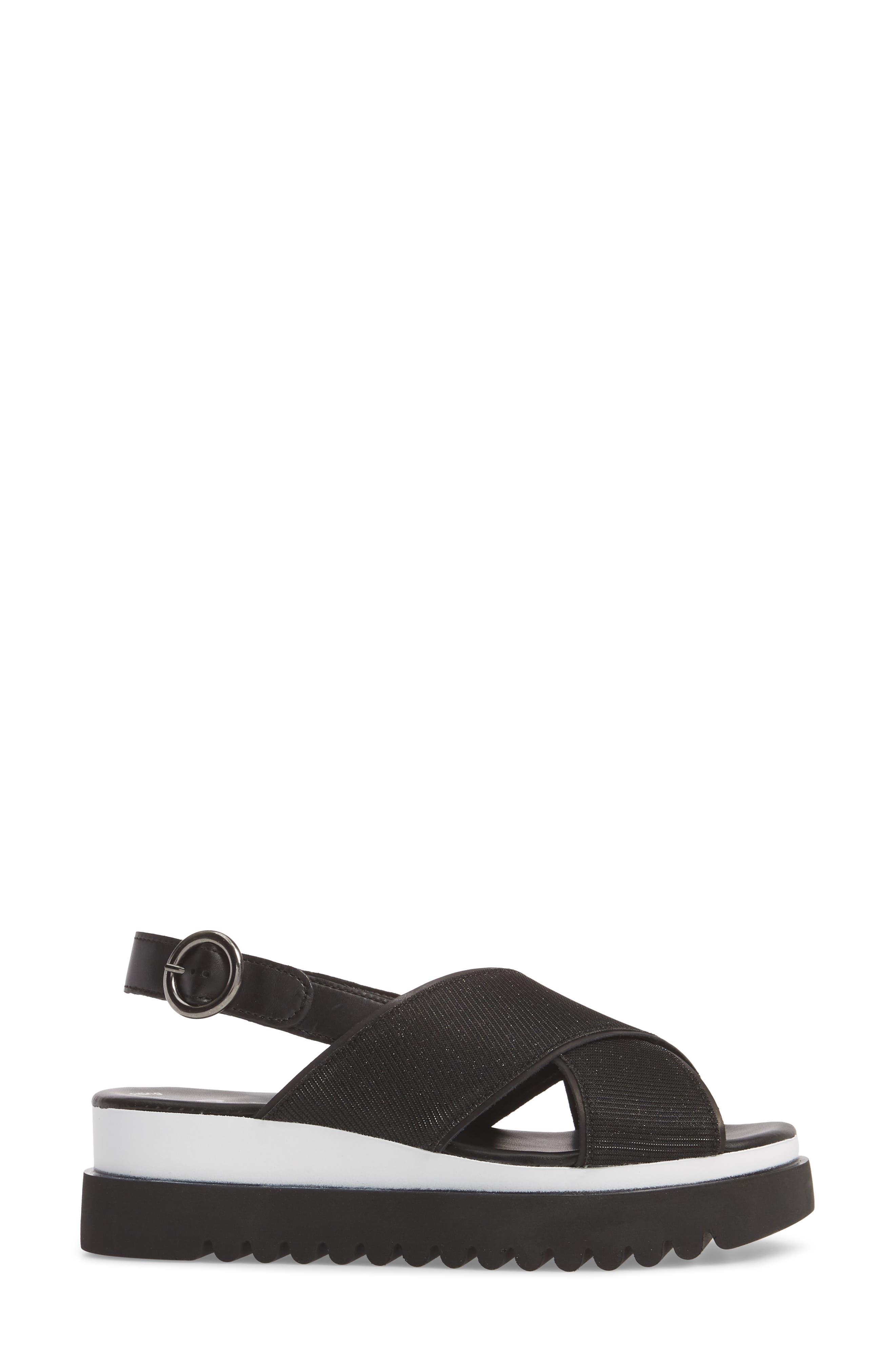 Crossover Strap Platform Sandal,                             Alternate thumbnail 3, color,                             BLACK LEATHER
