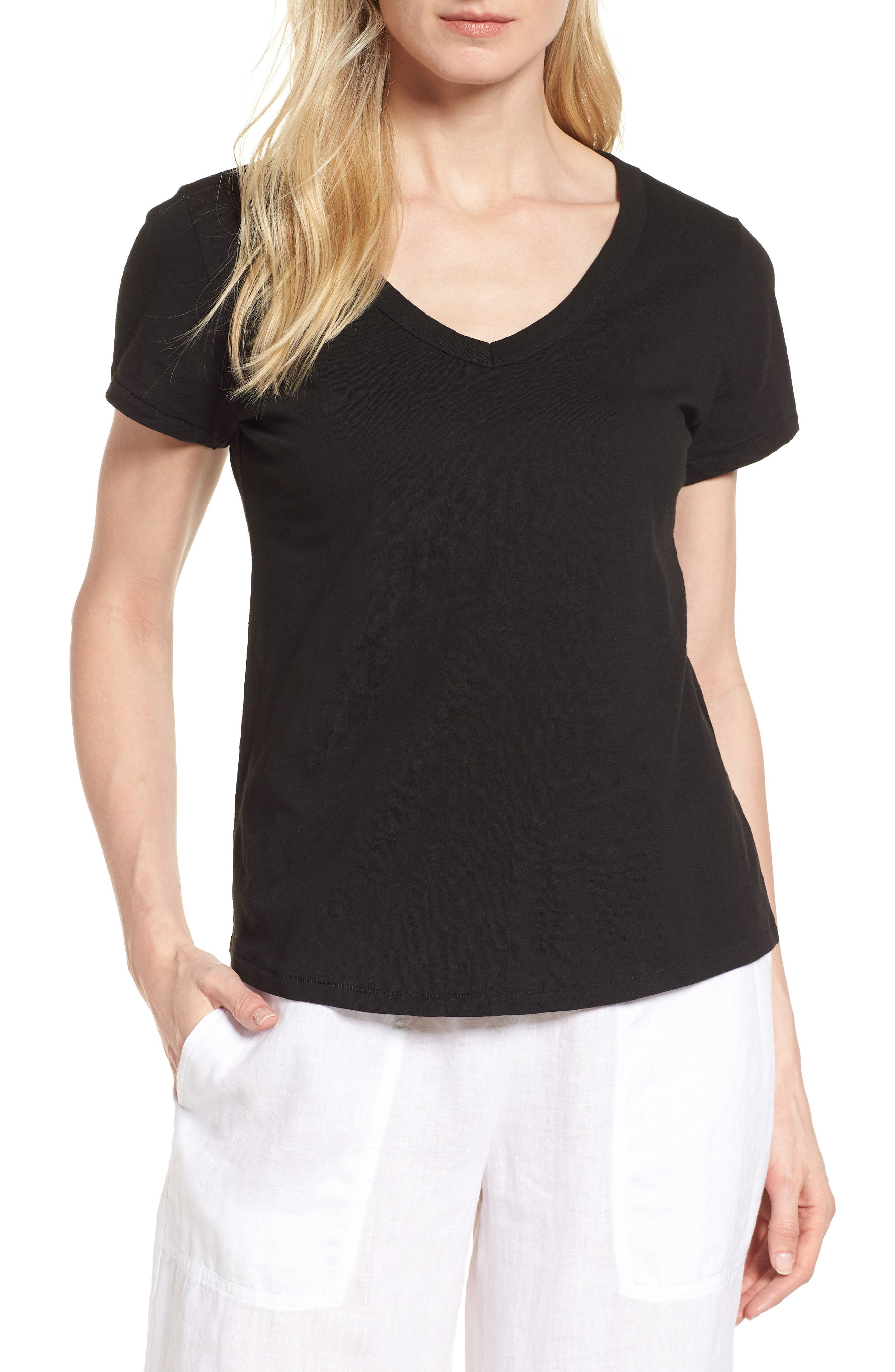 V-Neck Organic Cotton Tee,                             Main thumbnail 1, color,                             001