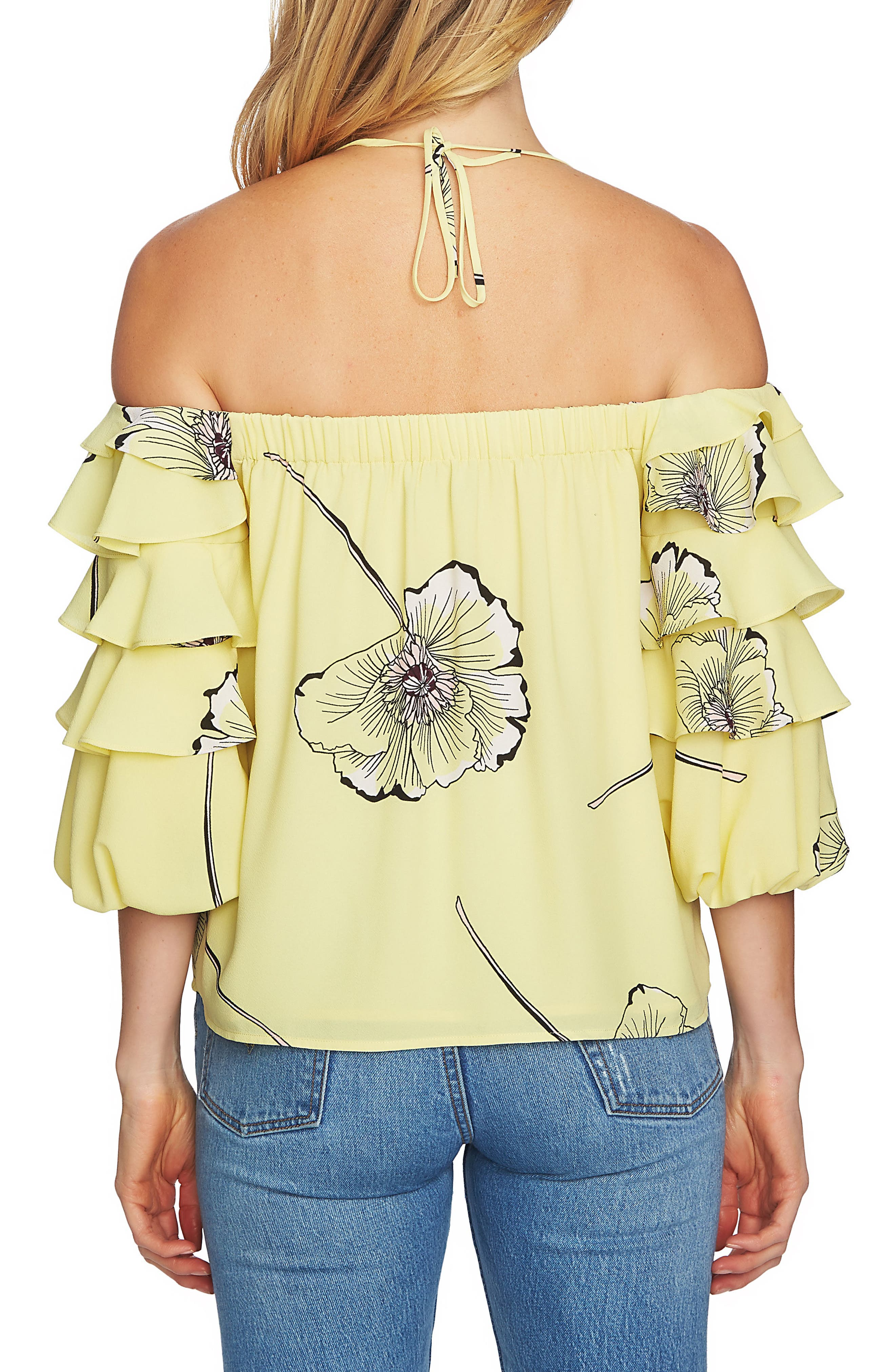 Tiered Sleeve Off the Shoulder Top,                             Alternate thumbnail 4, color,