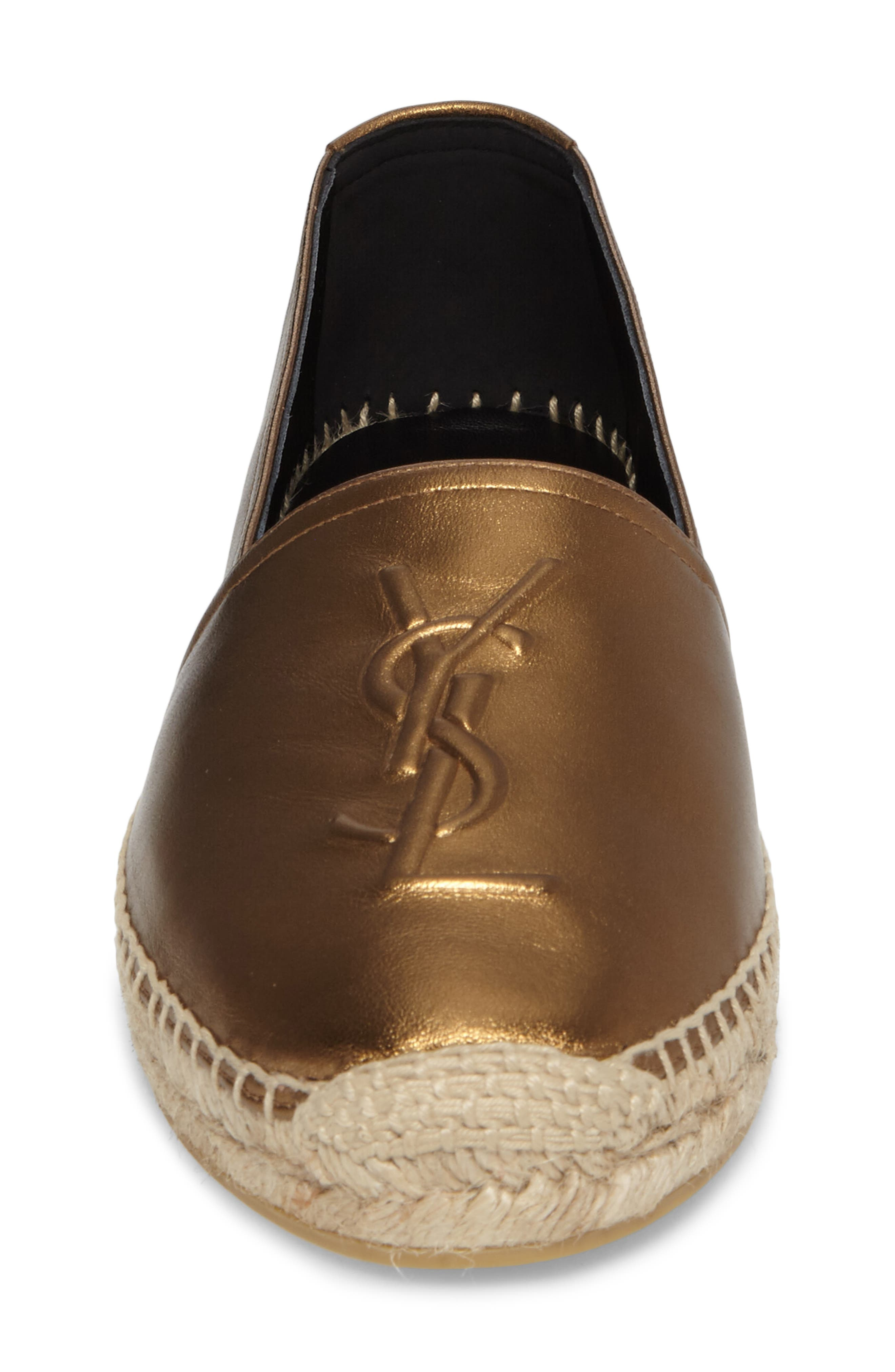 Metallic Logo Espadrille,                             Alternate thumbnail 4, color,                             METALLIC GOLD