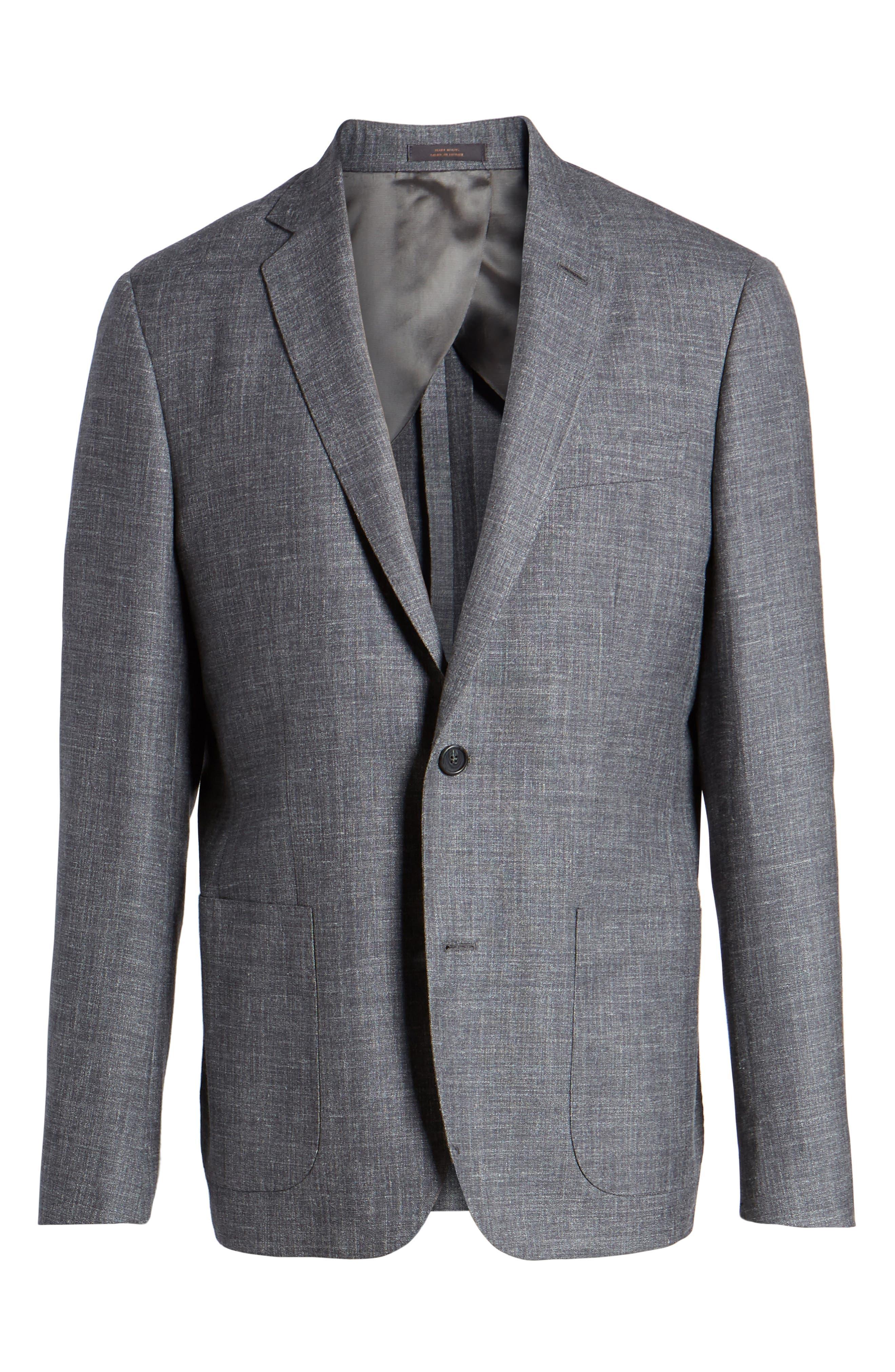 Trim Fit Wool Blend Blazer,                             Alternate thumbnail 5, color,                             020