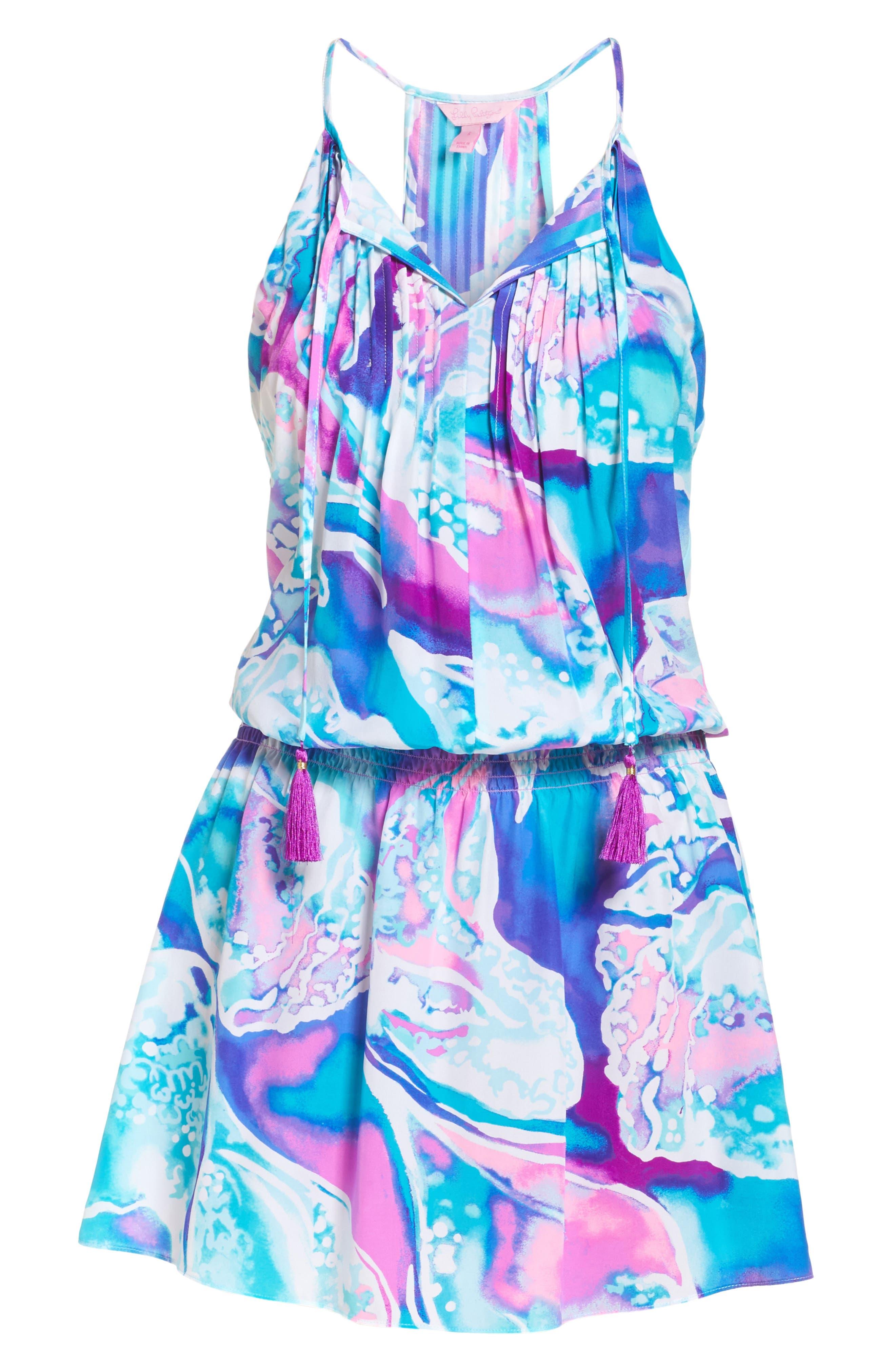 Minda Silk Blouson Dress,                             Alternate thumbnail 6, color,                             569