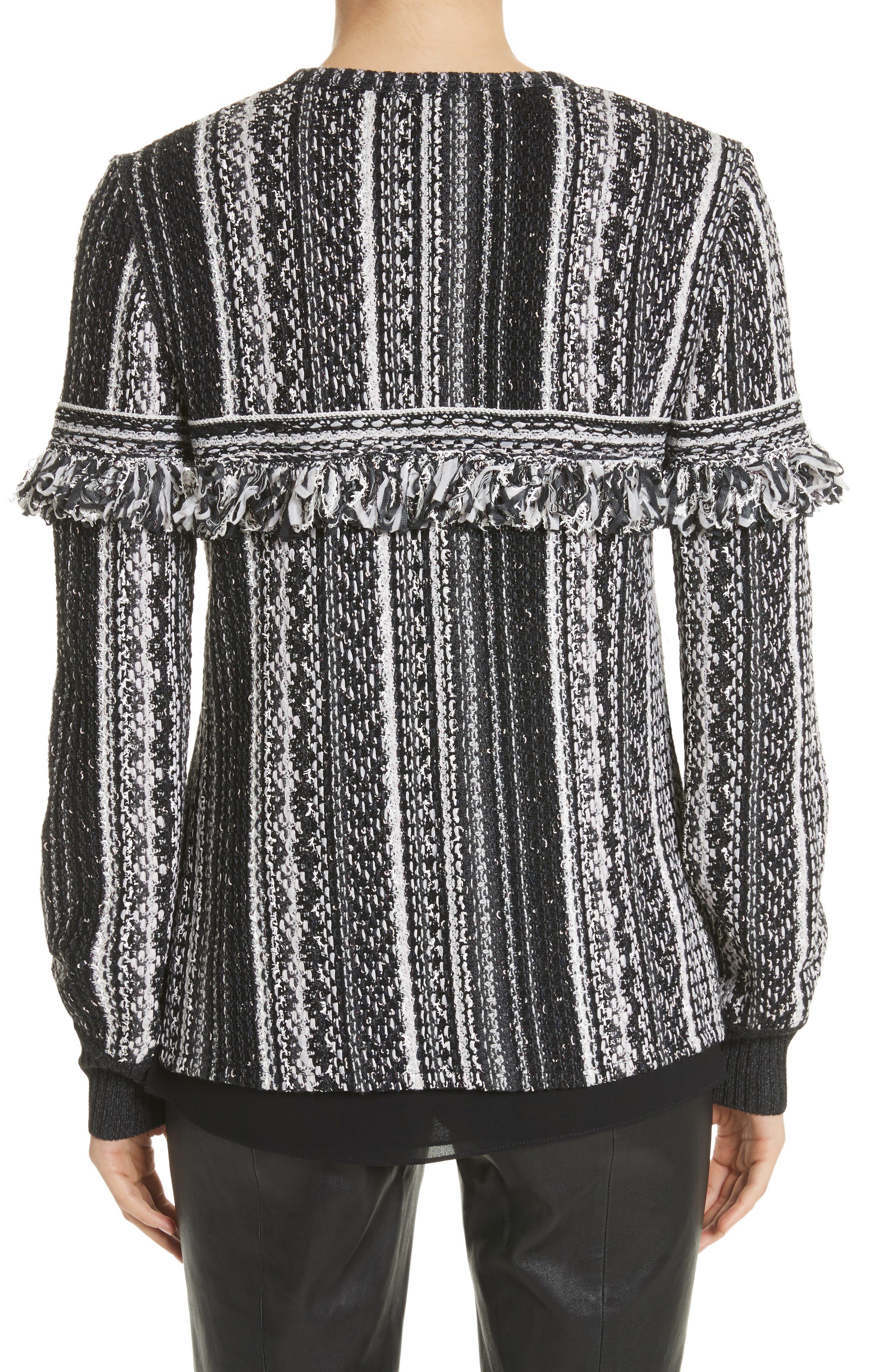 Fringe Vertical Ombré Stripe Tweed Knit Jacket,                             Alternate thumbnail 2, color,                             001