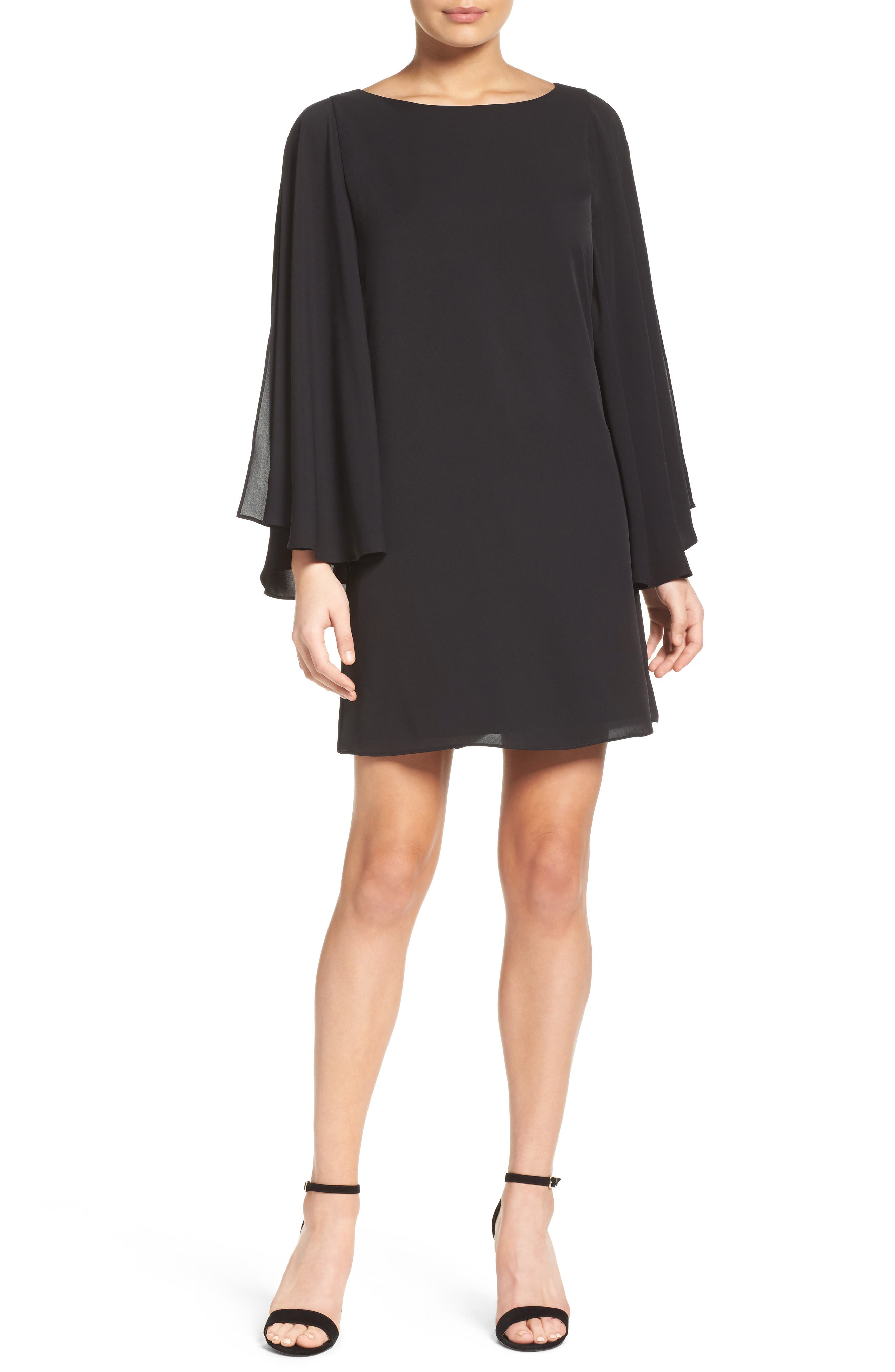 Butterfly Sleeve Shift Dress,                             Main thumbnail 1, color,                             BLACK