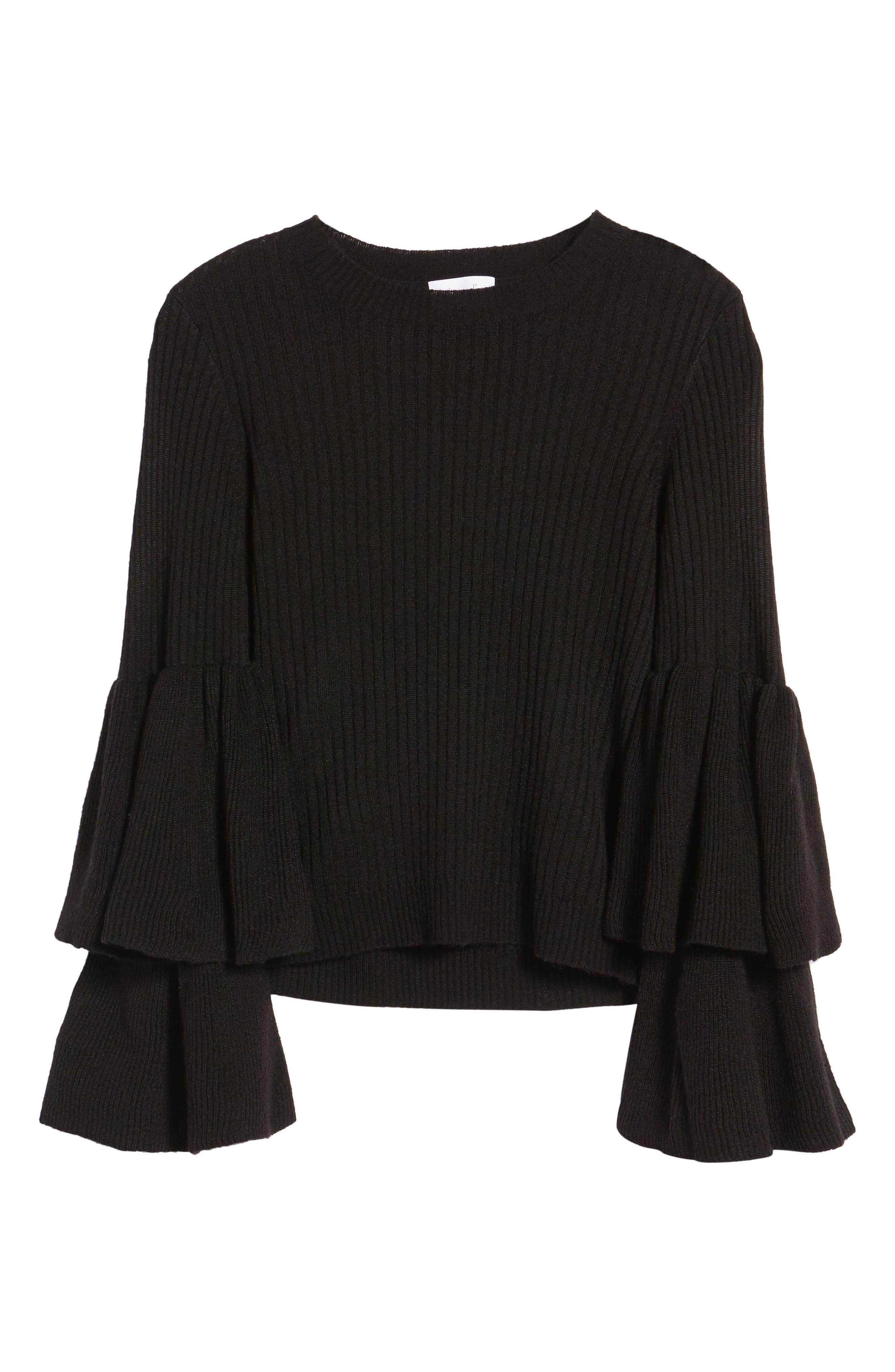 Tiara Bell Sleeve Sweater,                             Alternate thumbnail 6, color,                             001