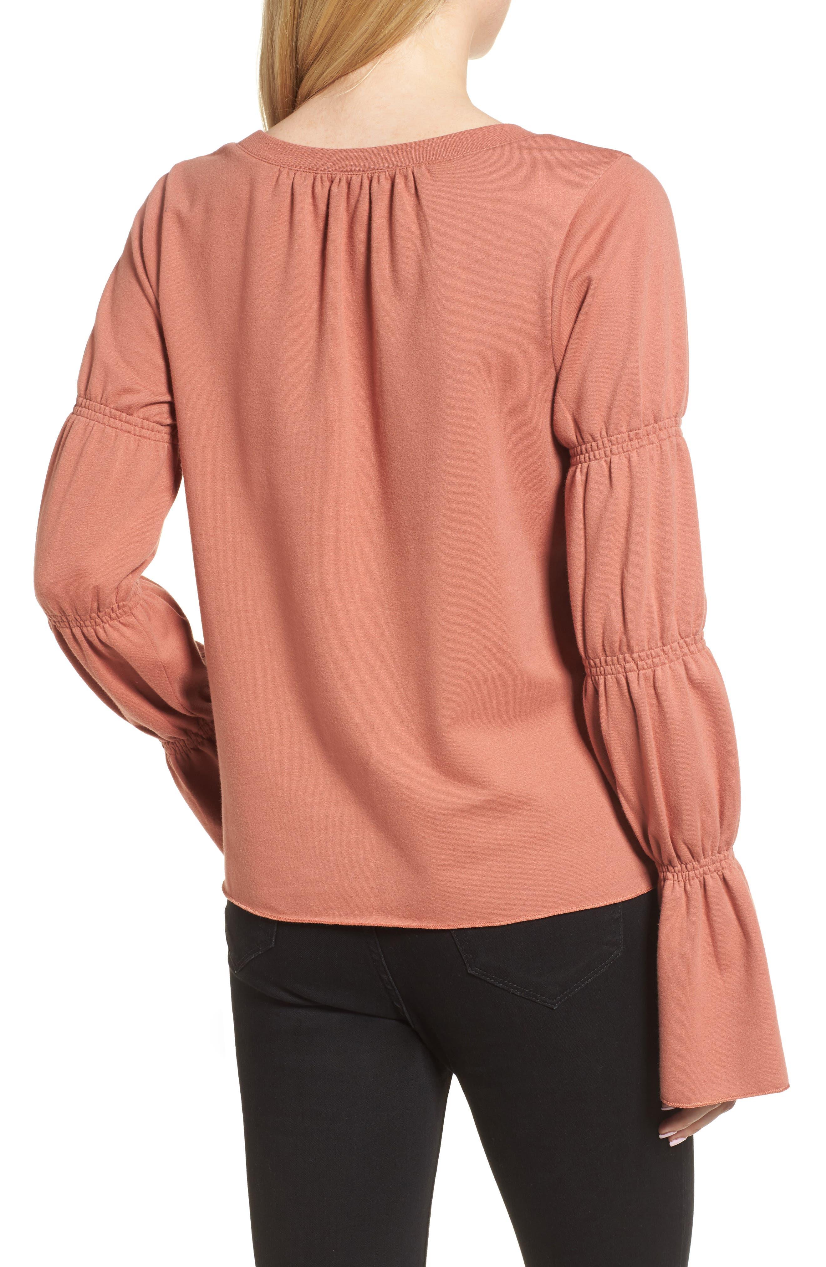 Flare Cuff Sweatshirt,                             Alternate thumbnail 4, color,