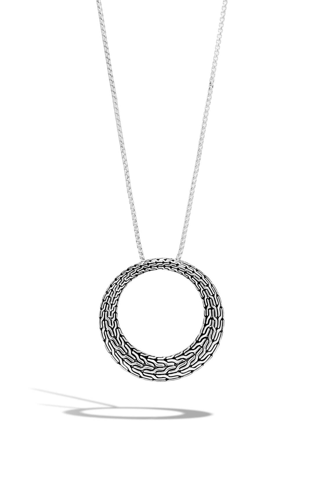 Classic Chain Circle Pendant Necklace,                             Main thumbnail 1, color,                             SILVER