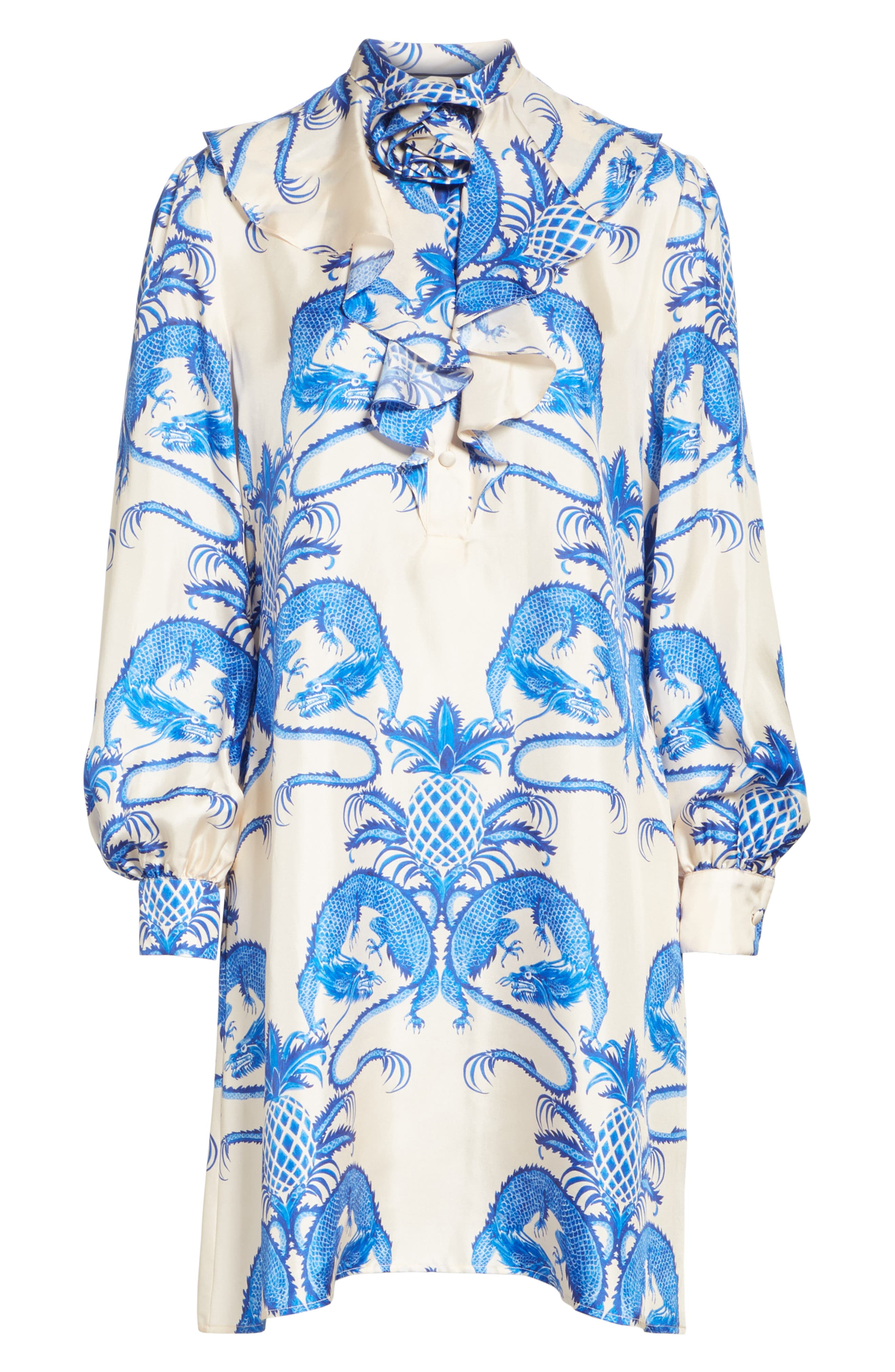Dragon Print Twill Ruffle Neck Dress,                             Alternate thumbnail 3, color,                             IVORY/ BLUE PRINT