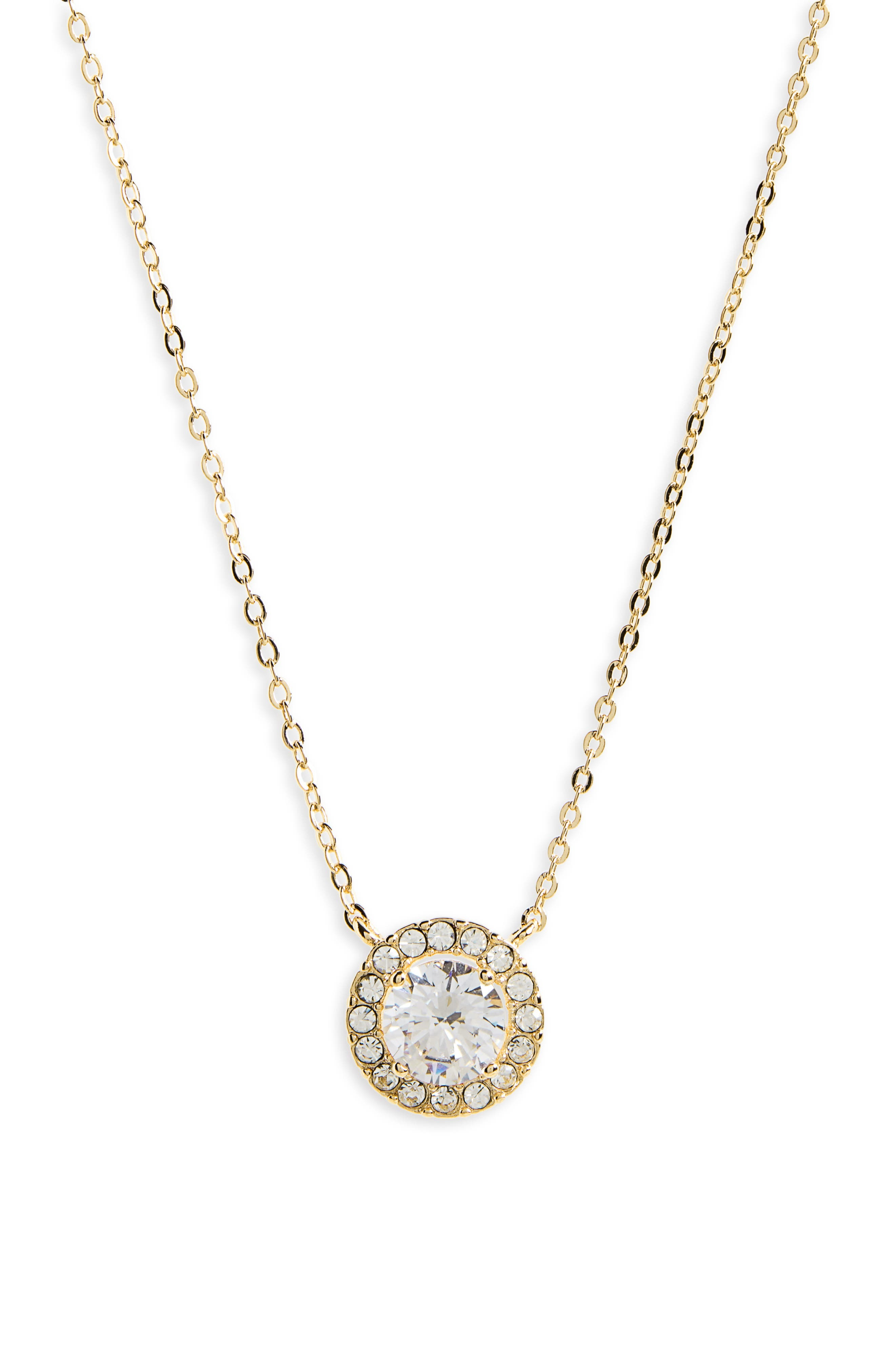 Cubic Zirconia Pendant Necklace,                         Main,                         color, CLEAR- GOLD