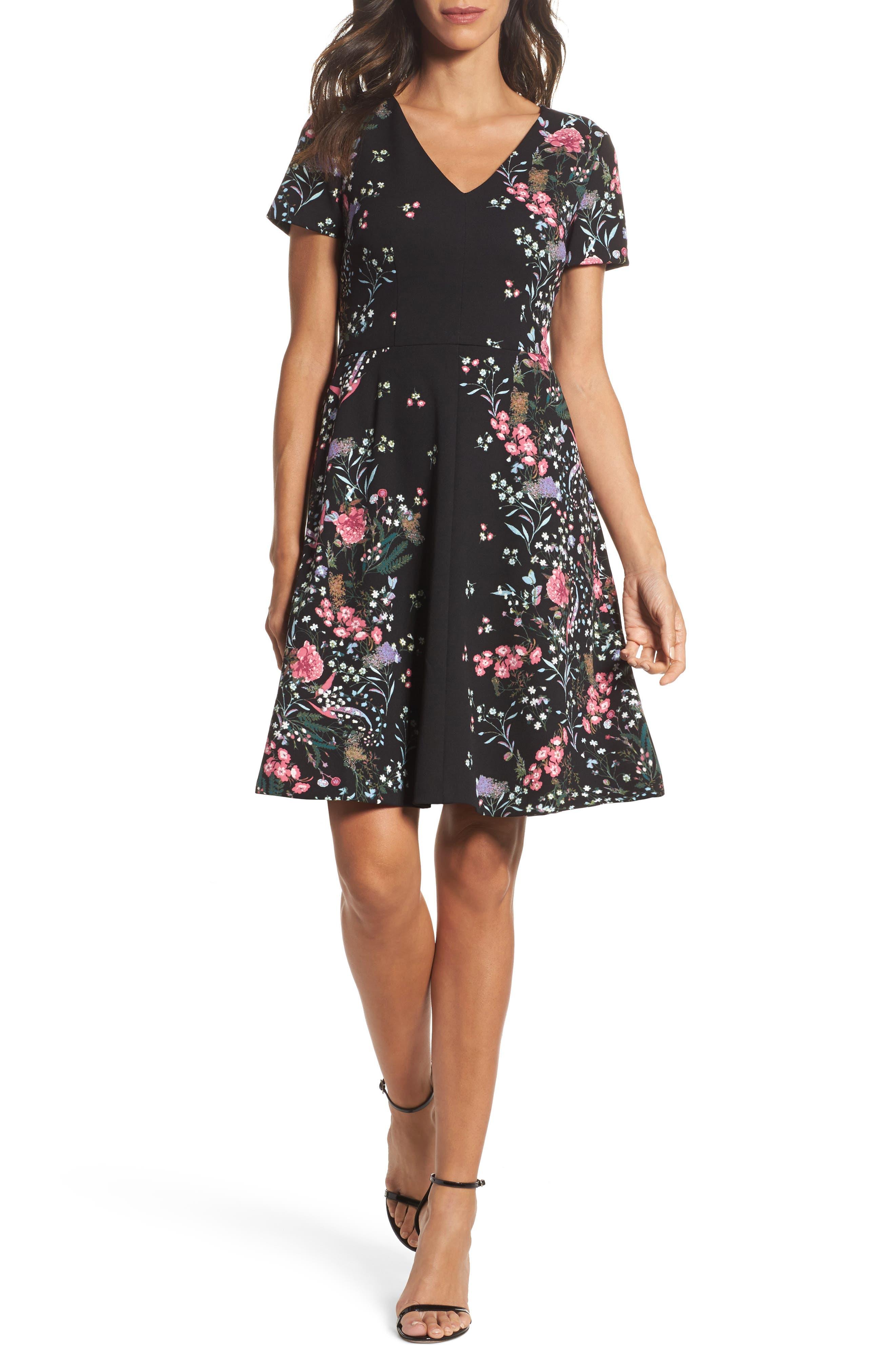 Print Scuba Knit Fit & Flare Dress,                         Main,                         color,