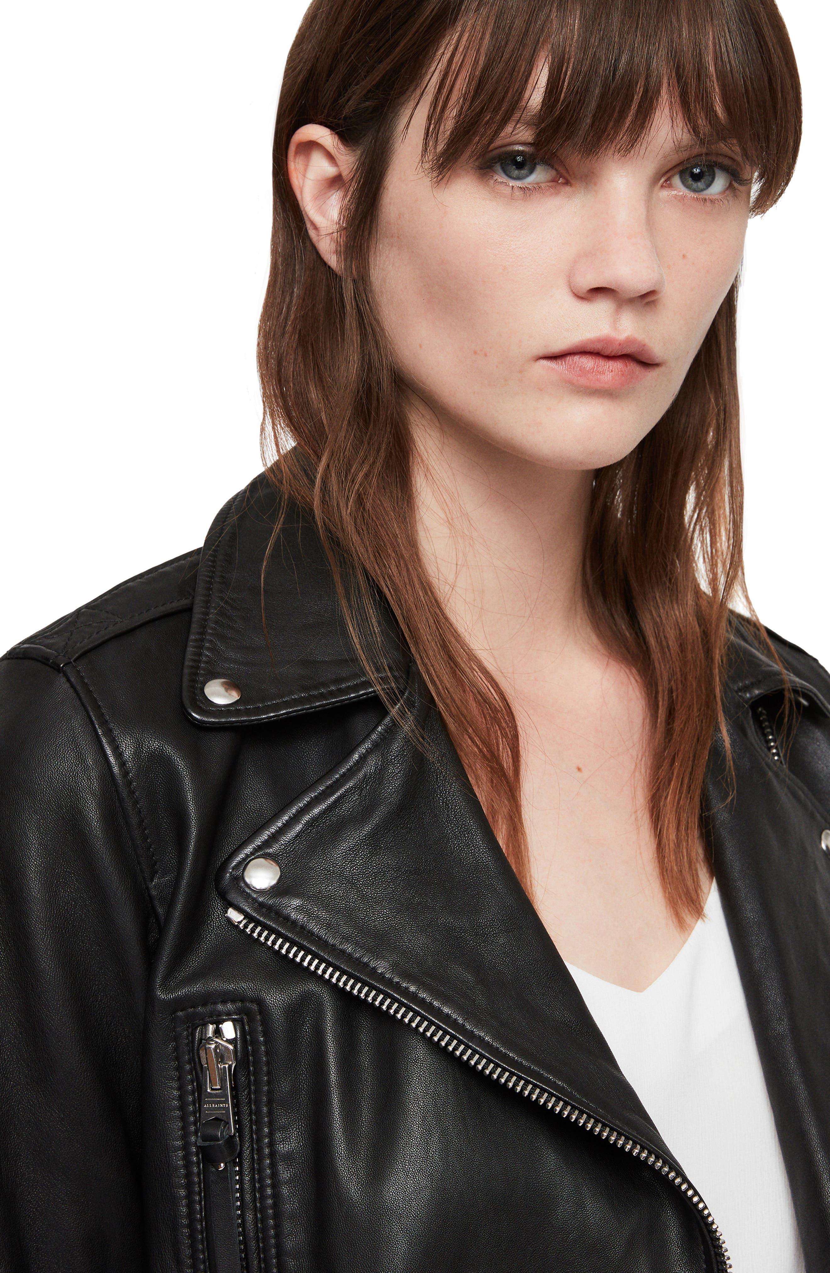 Juno Leather Biker Jacket,                             Alternate thumbnail 7, color,                             BLACK