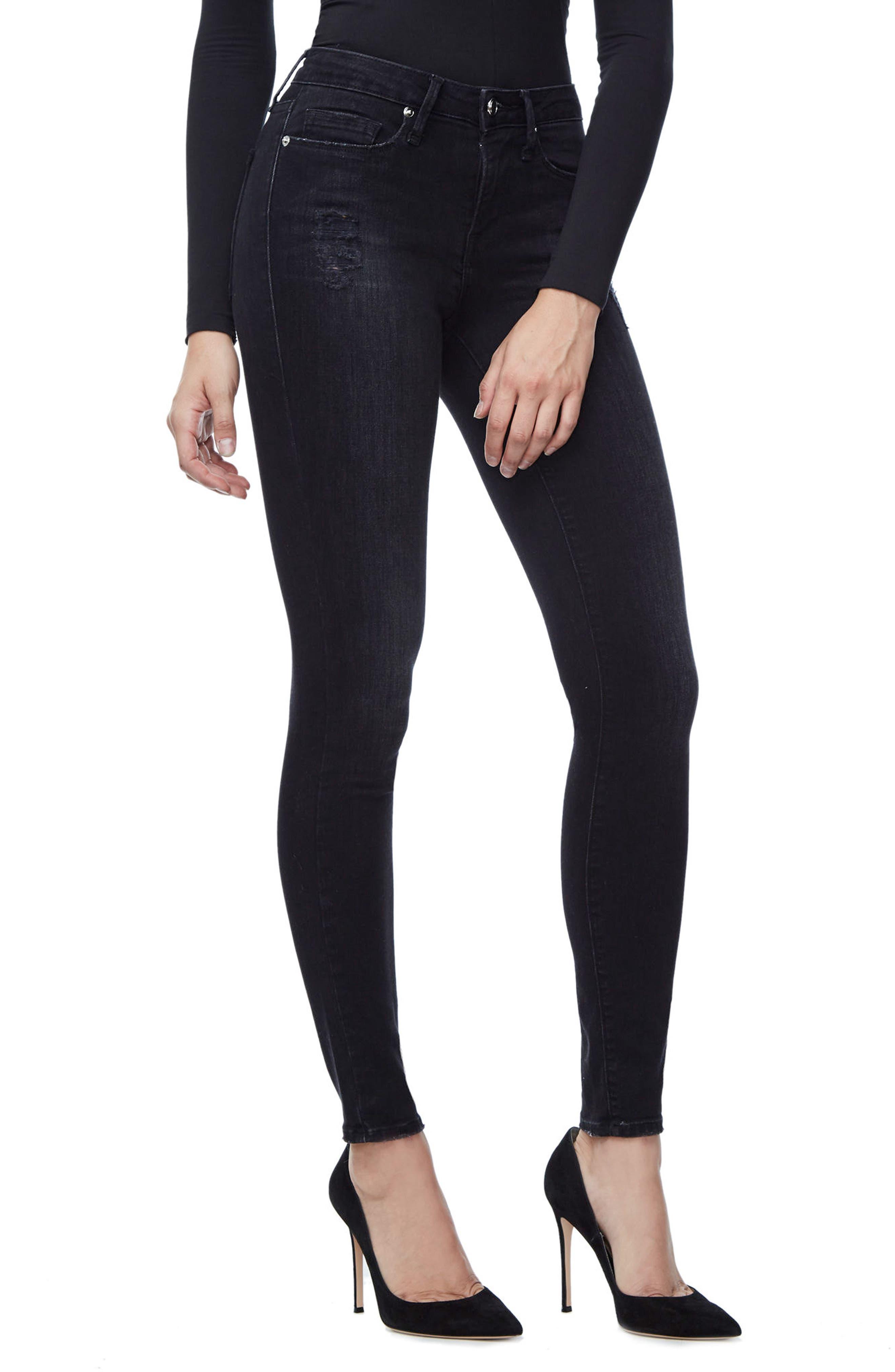 Good Waist Grommet Detail Skinny Jeans,                             Main thumbnail 1, color,                             001